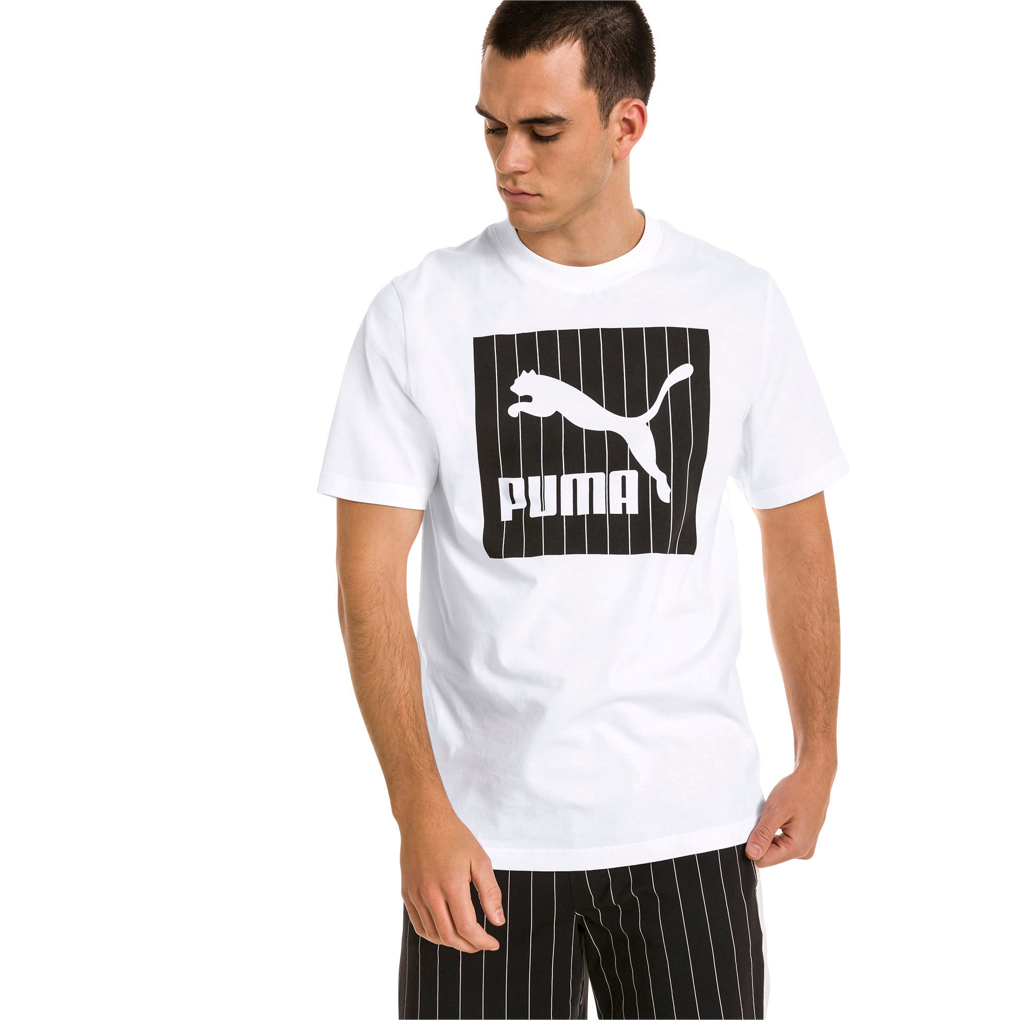 Thumbnail 2 of Archive Pinstripe Graphic Men's Tee, Puma White, medium
