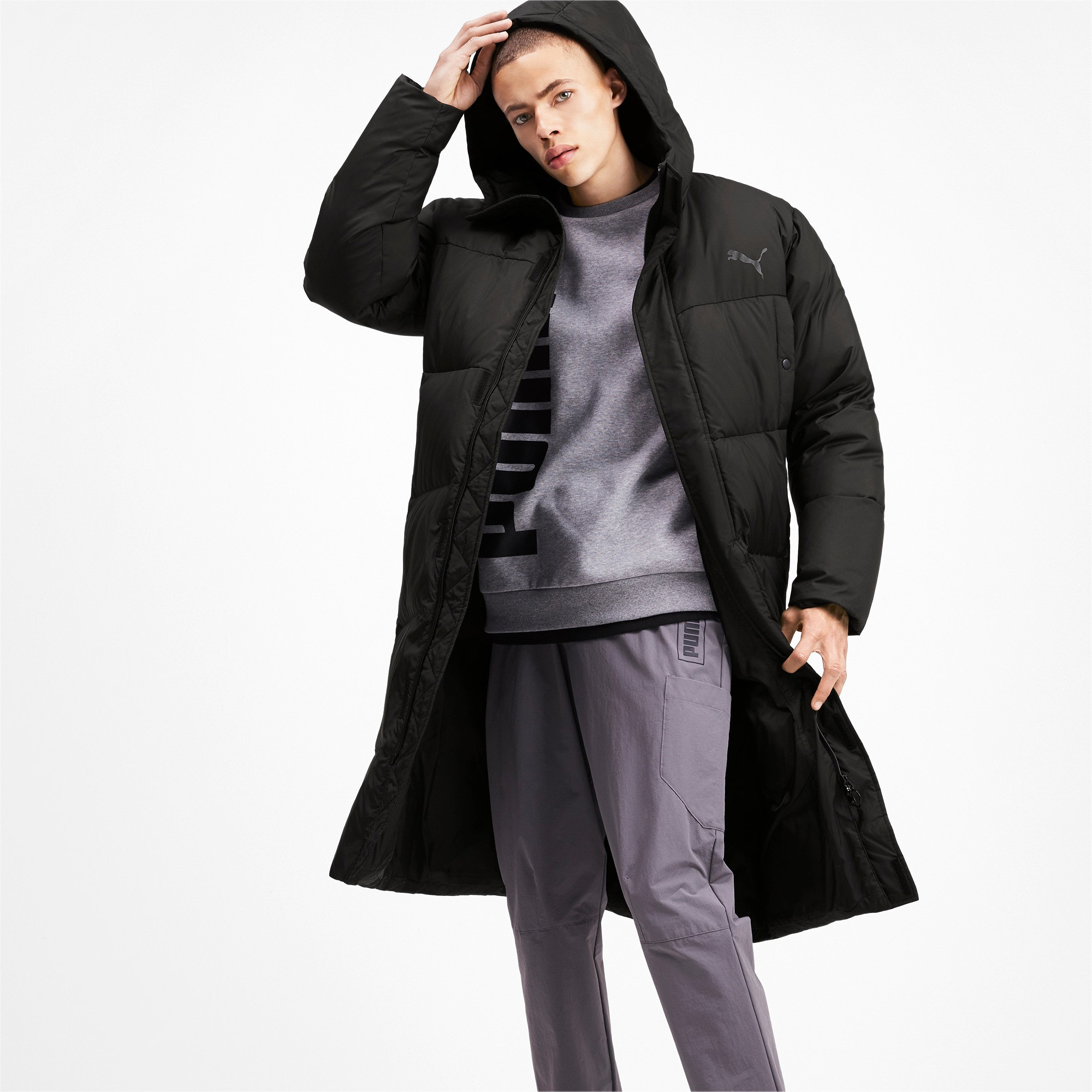 Anteprima 1 di Long Oversized Men's Hooded Coat, Puma Black, medio