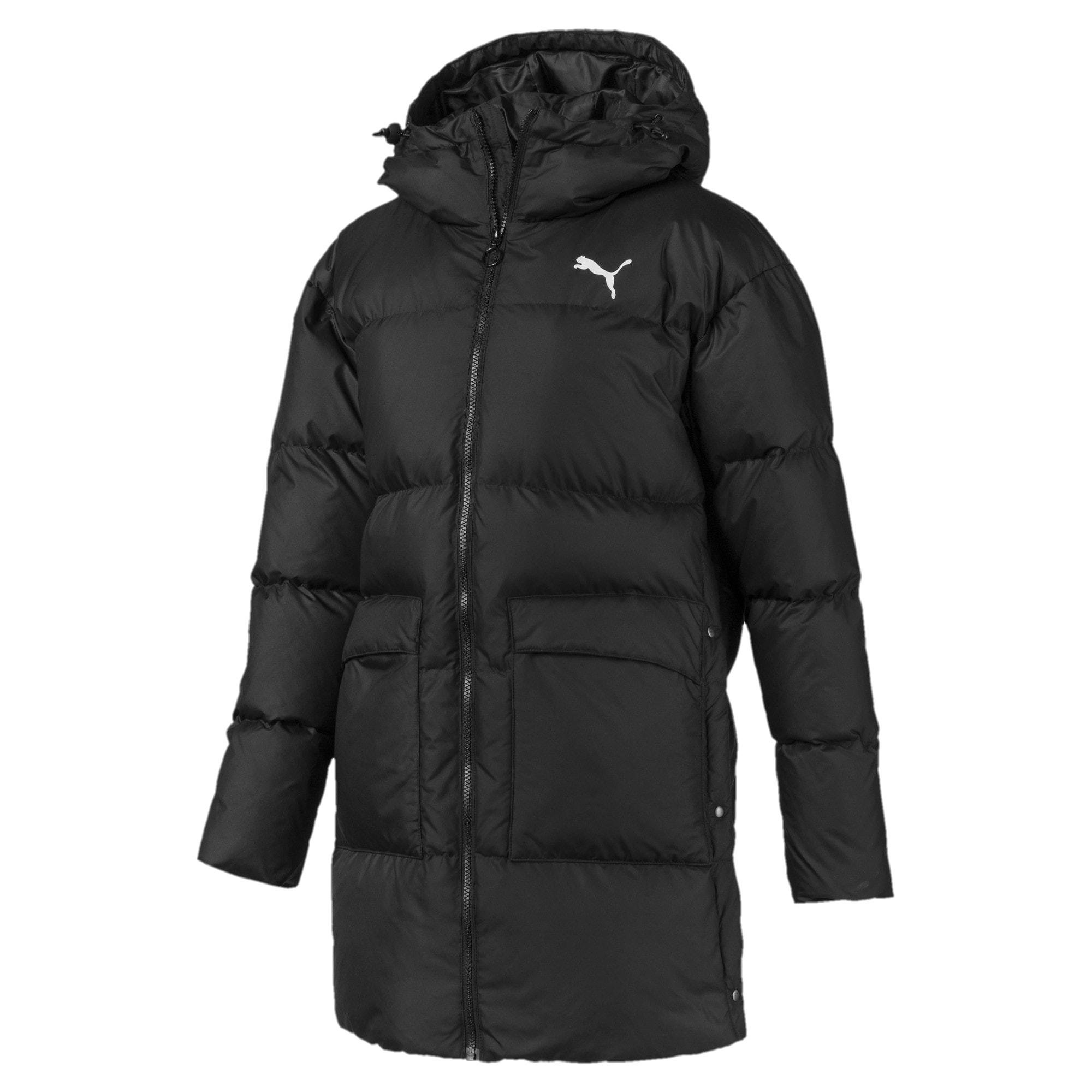 Thumbnail 4 of 450 Long Hooded Down Women's Coat, Puma Black, medium