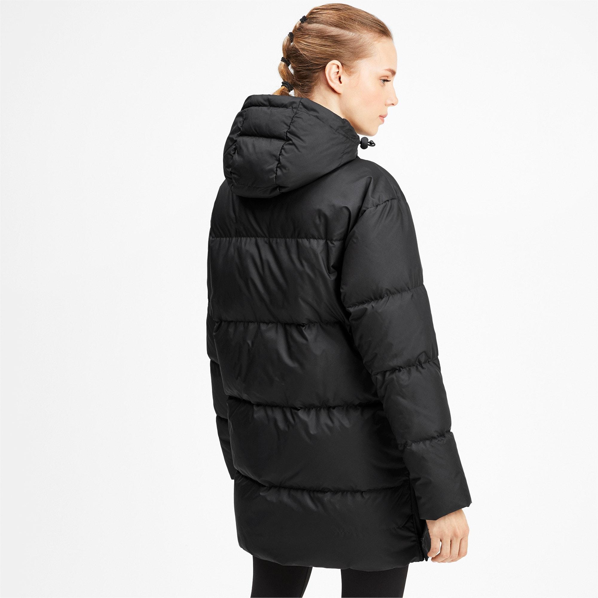 Thumbnail 2 of 450 Long Hooded Down Women's Coat, Puma Black, medium