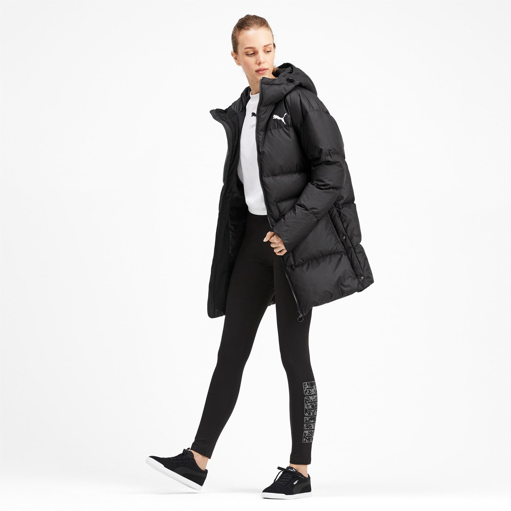 Thumbnail 3 of 450 Long Hooded Down Women's Coat, Puma Black, medium