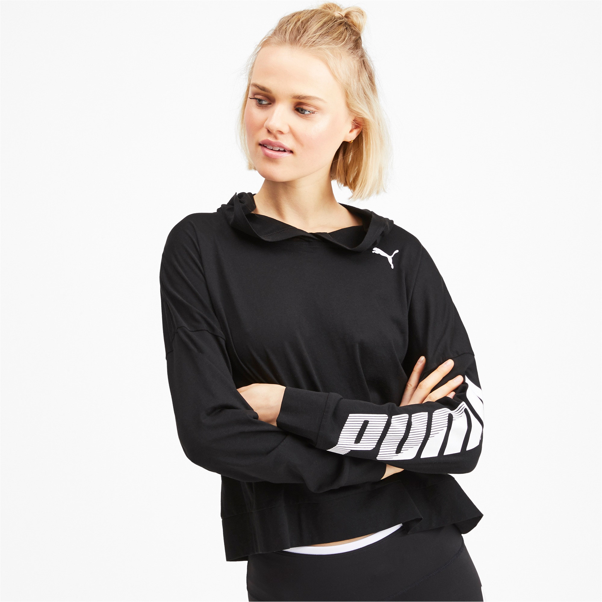 Thumbnail 2 of Modern Sport Long Sleeve Women's Hoodie, Puma Black, medium-IND