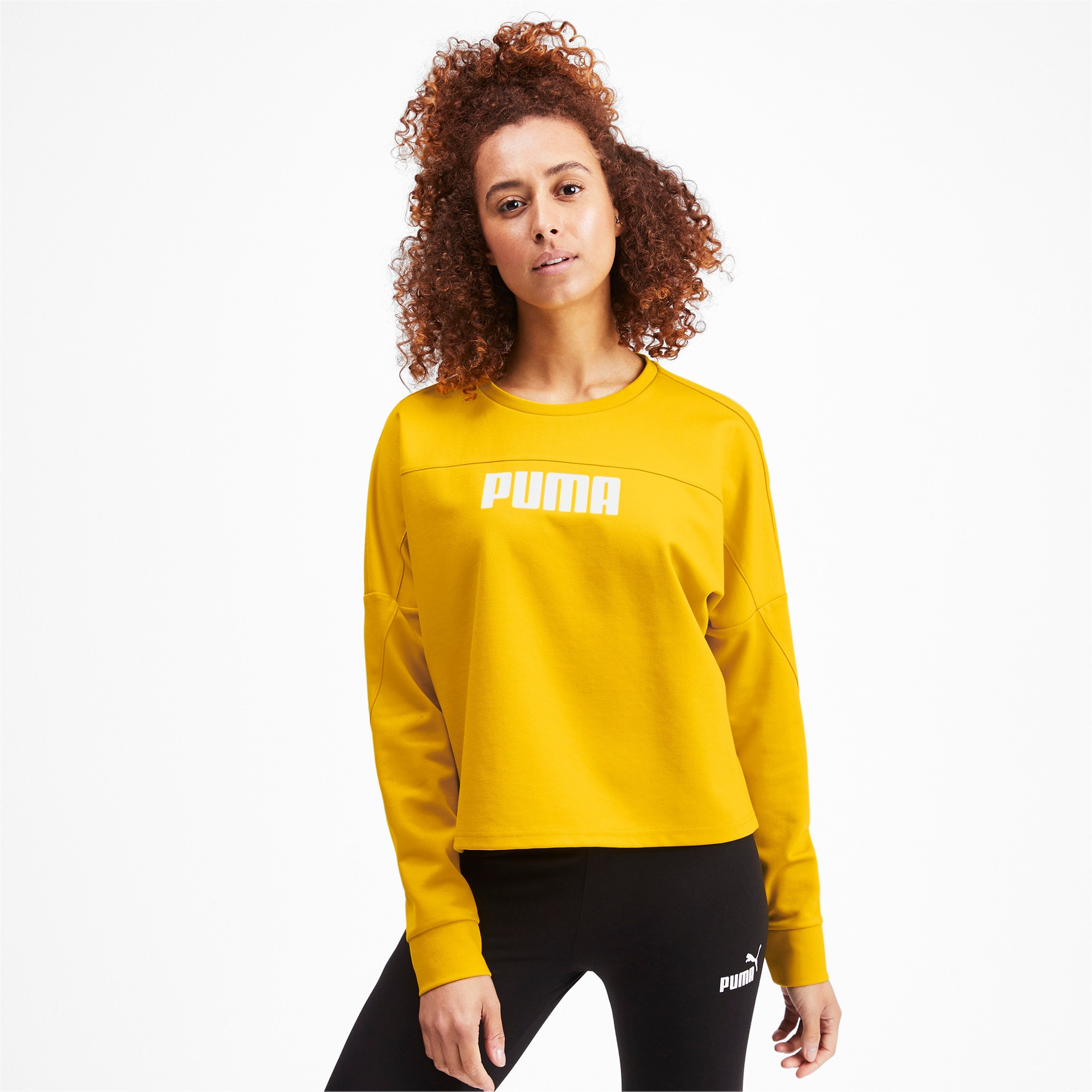 Thumbnail 1 of NU-TILITY Cropped Crew Women's Sweater, Sulphur, medium