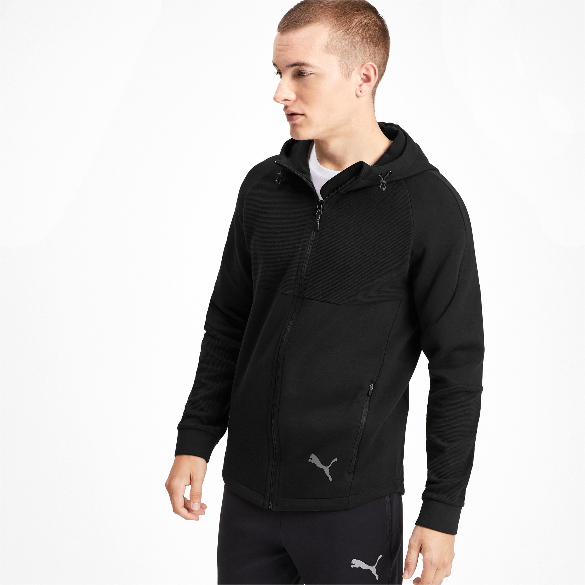 Thumbnail 1 of Evostripe Full Zip Men's Hoodie, Puma Black, medium