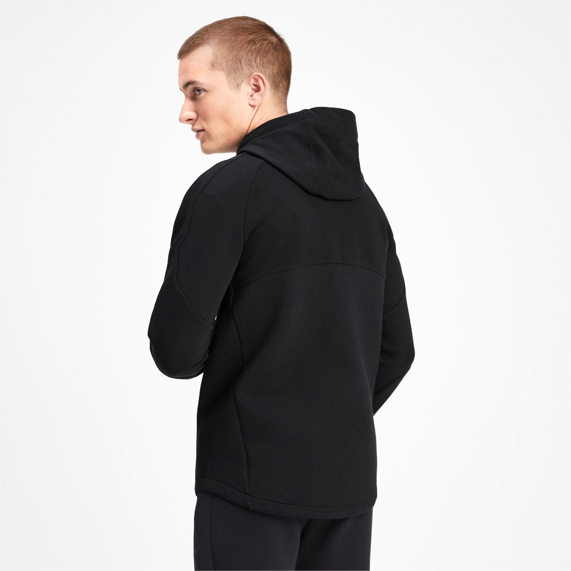 Thumbnail 2 of Evostripe Full Zip Men's Hoodie, Puma Black, medium