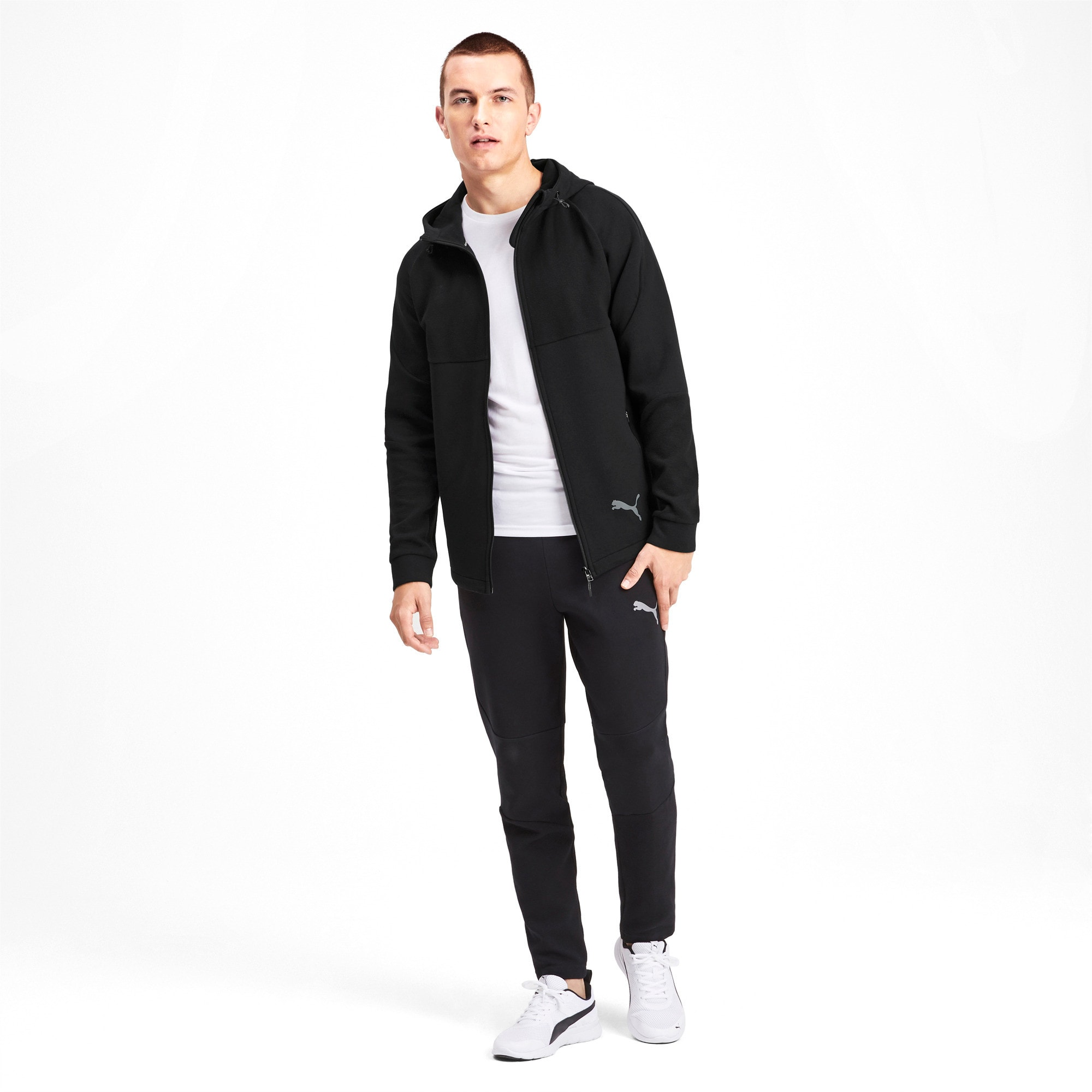 Thumbnail 3 of Evostripe Full Zip Men's Hoodie, Puma Black, medium