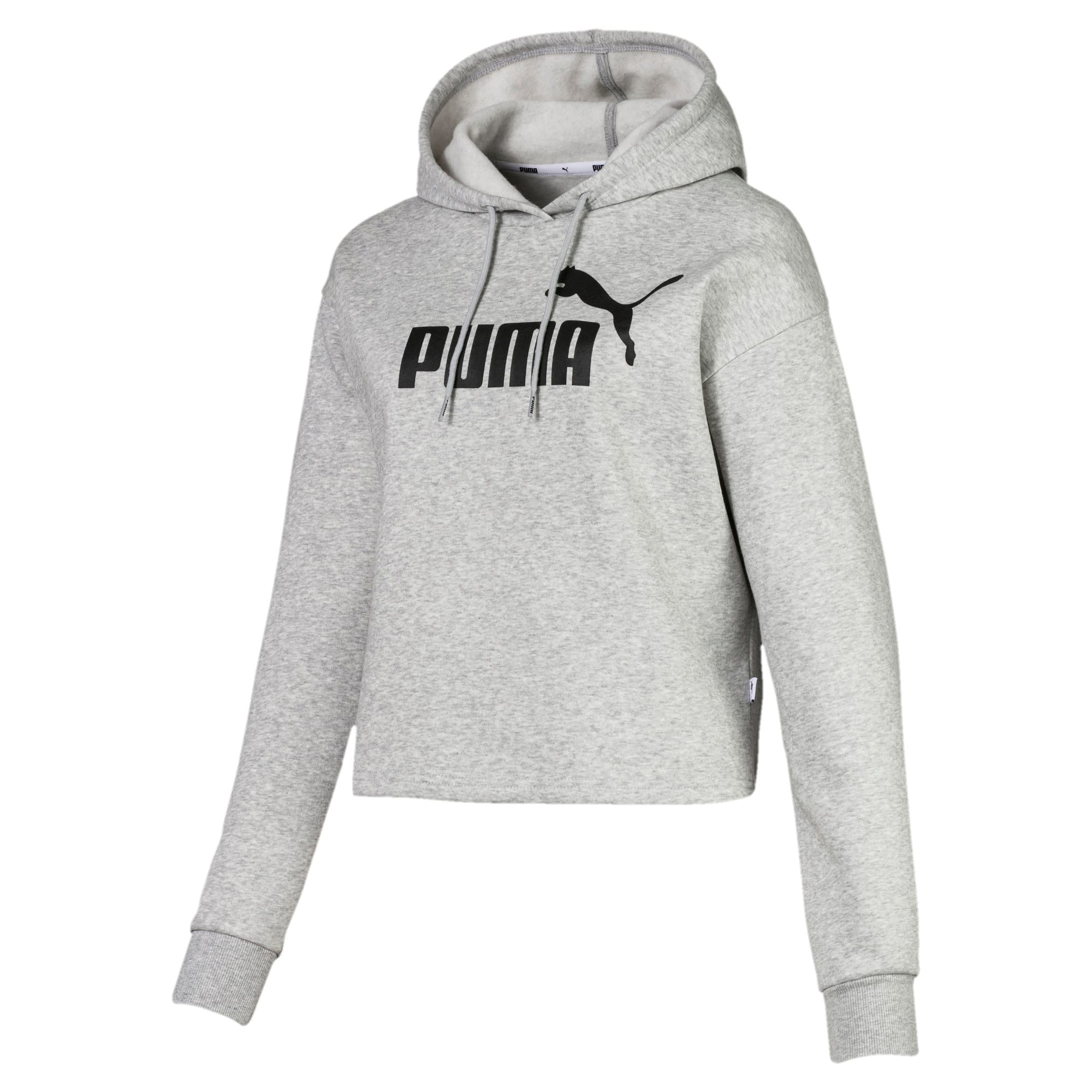 Thumbnail 4 of Elevated Essentials Cropped Women's Hoodie, Light Gray Heather, medium
