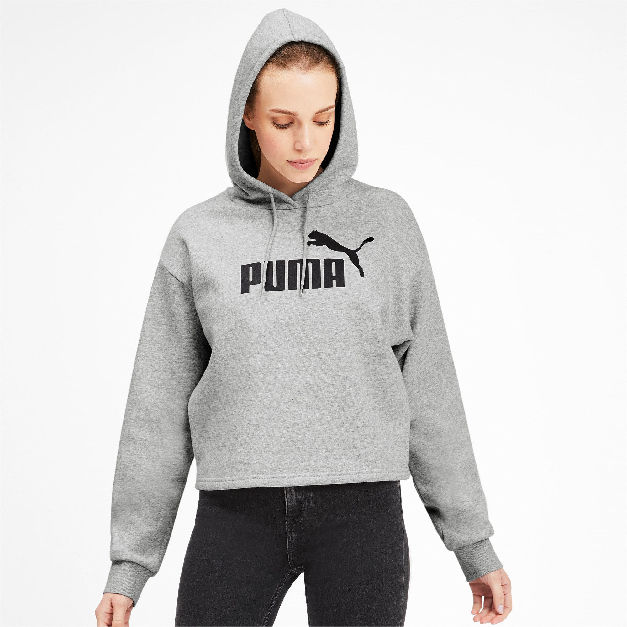 Thumbnail 1 of Elevated Essentials Cropped Women's Hoodie, Light Gray Heather, medium