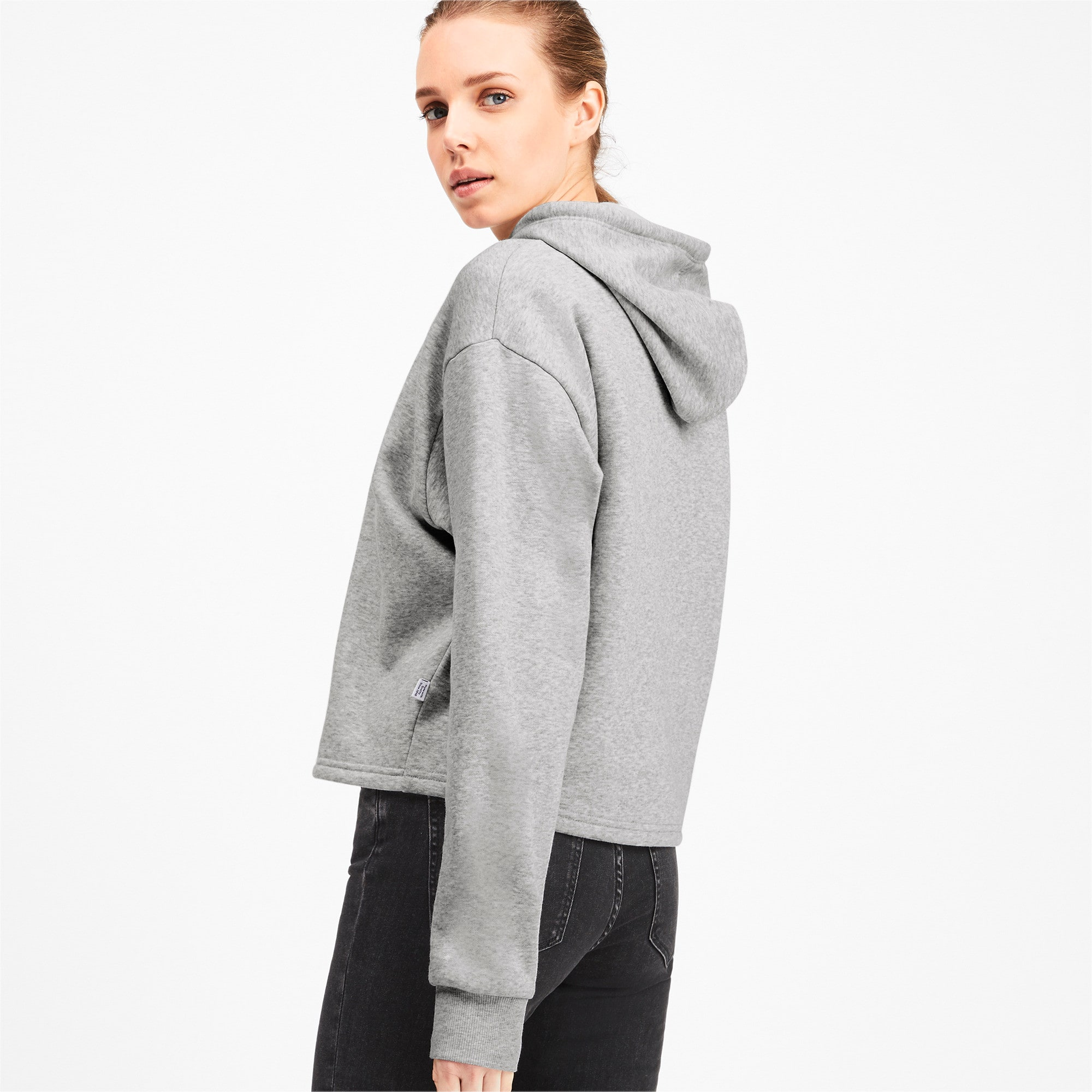 Thumbnail 2 of Elevated Essentials Cropped Women's Hoodie, Light Gray Heather, medium