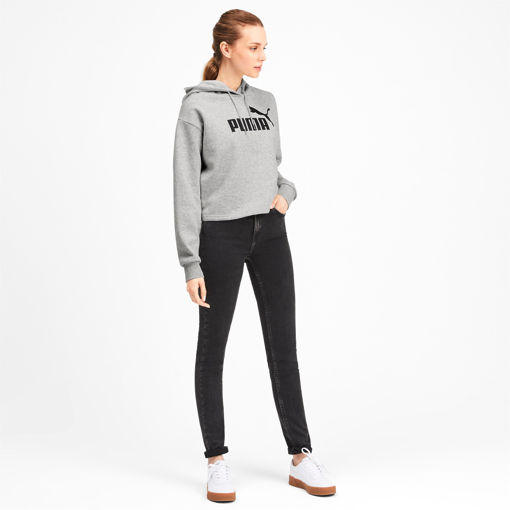Thumbnail 3 of Elevated Essentials Cropped Women's Hoodie, Light Gray Heather, medium