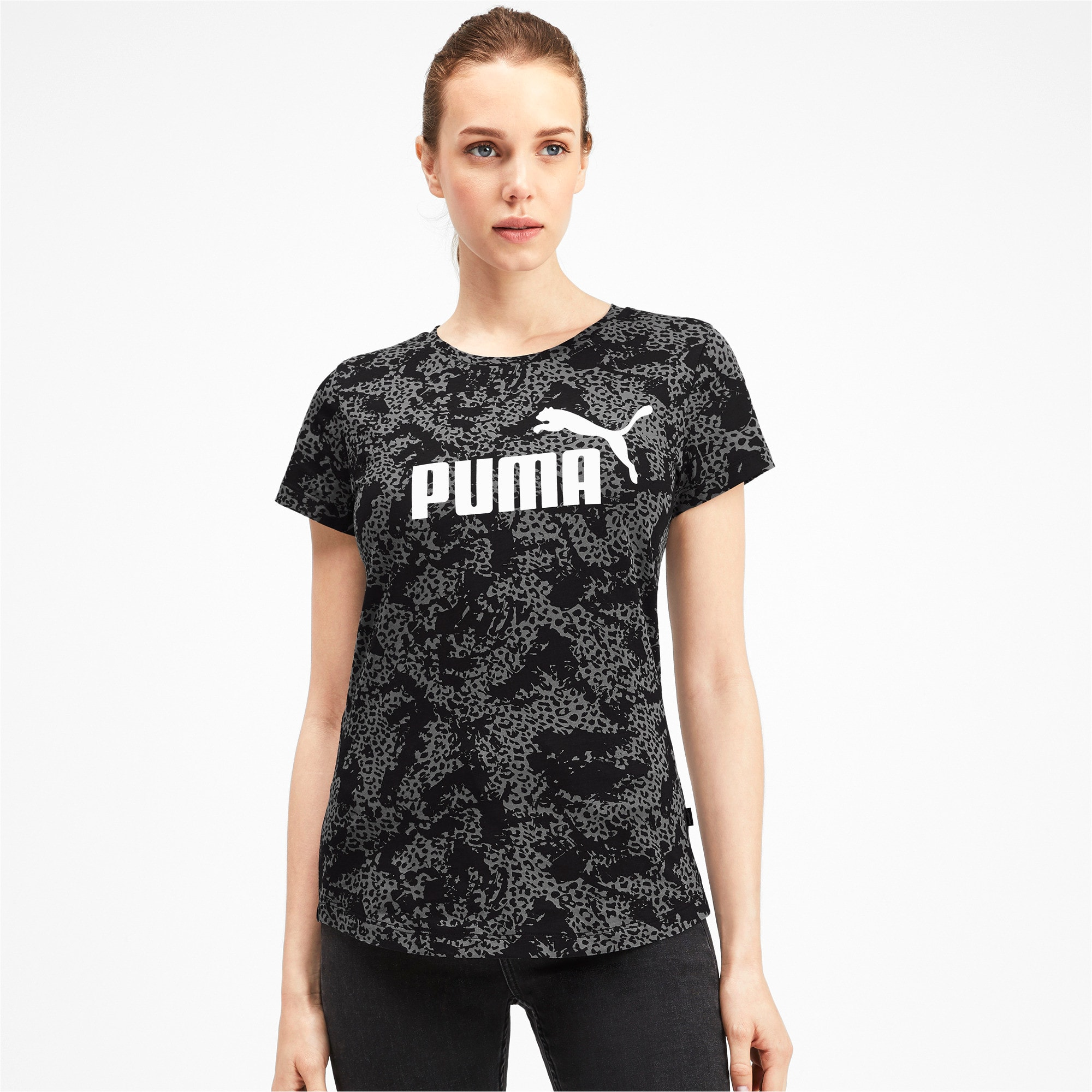 Thumbnail 1 of Elevated Essentials All-Over Print Women's Tee, Puma Black, medium-IND