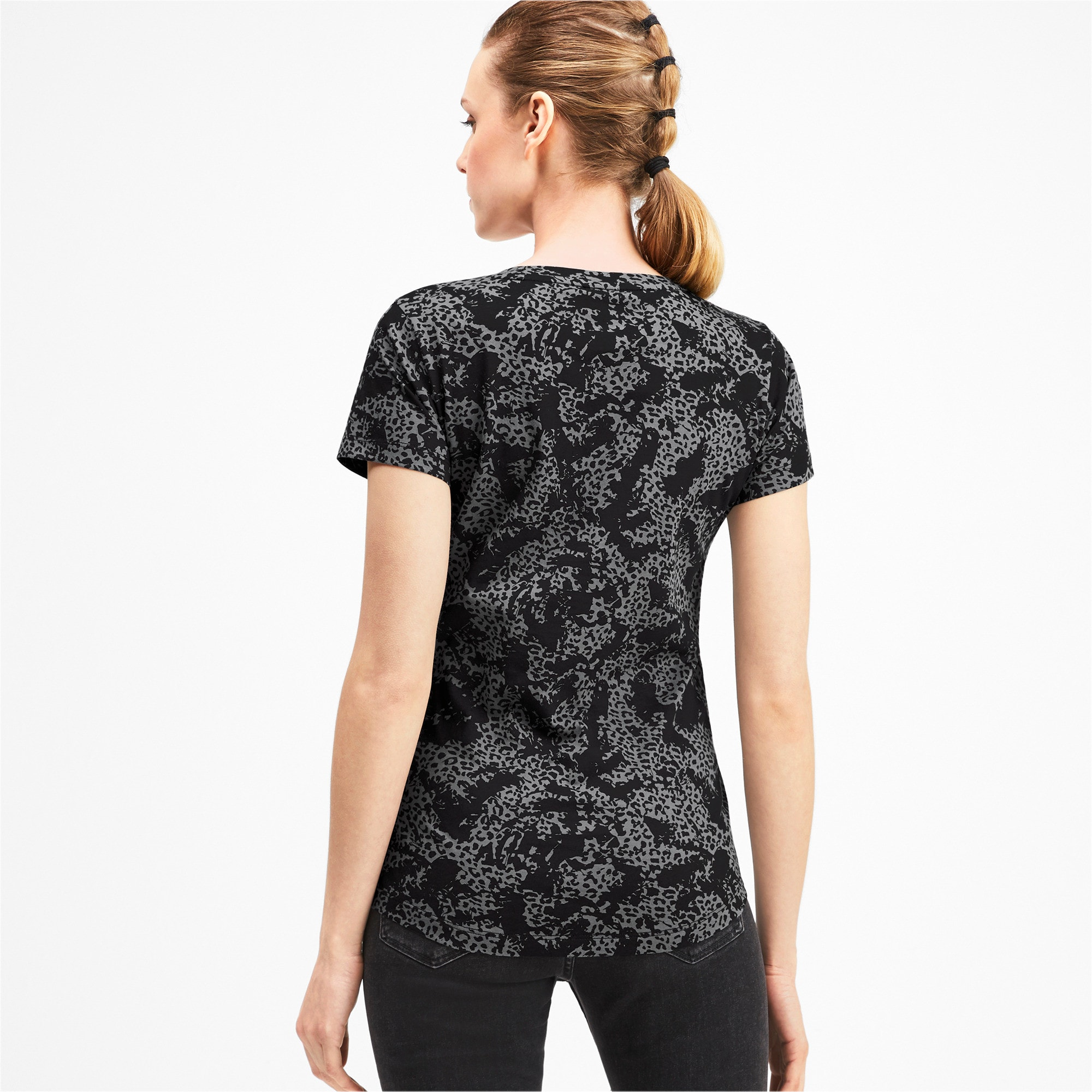 Thumbnail 2 of Elevated Essentials All-Over Print Women's Tee, Puma Black, medium-IND