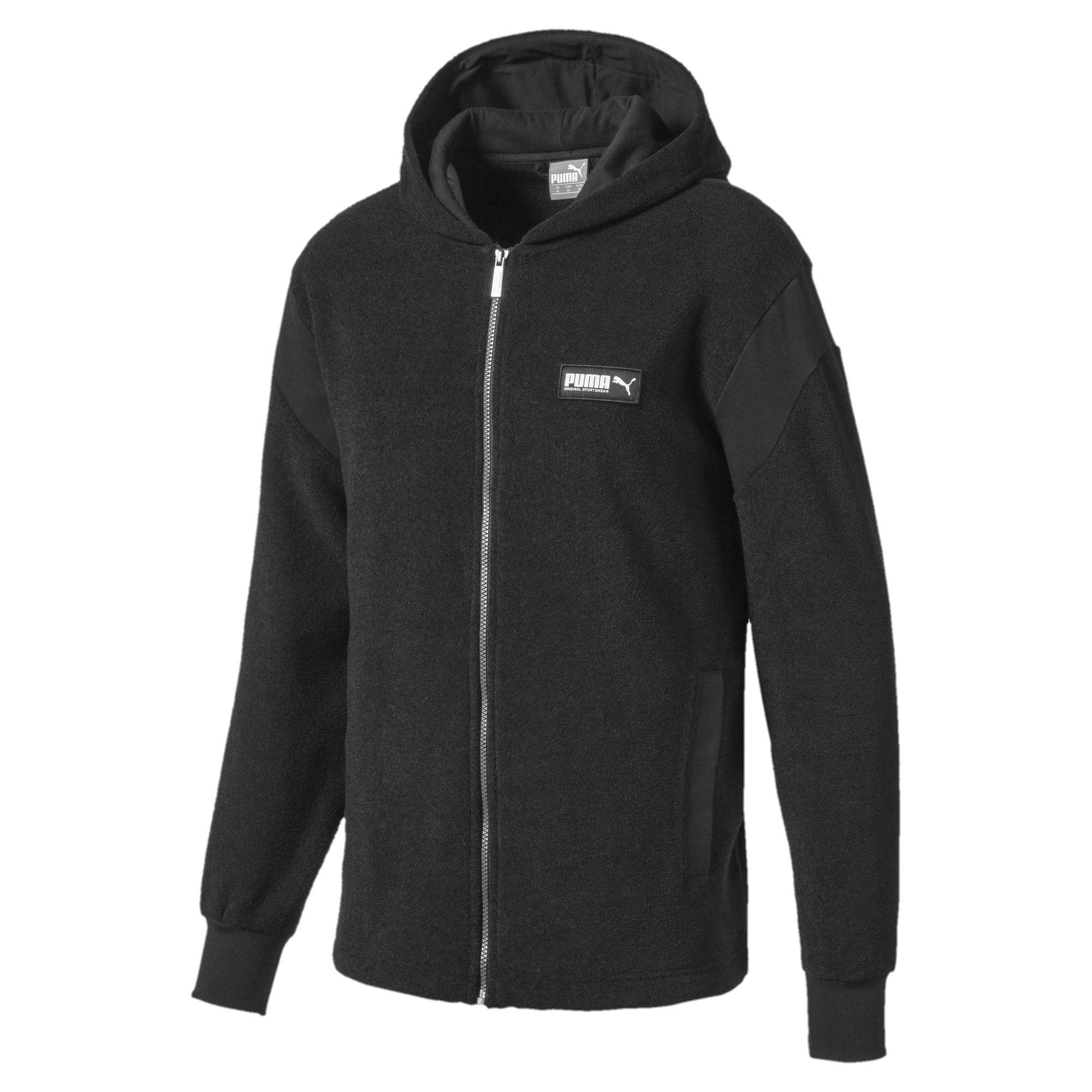 Thumbnail 4 of Fusion Fleece Hooded Men's Sweat Jacket, Puma Black, medium-IND