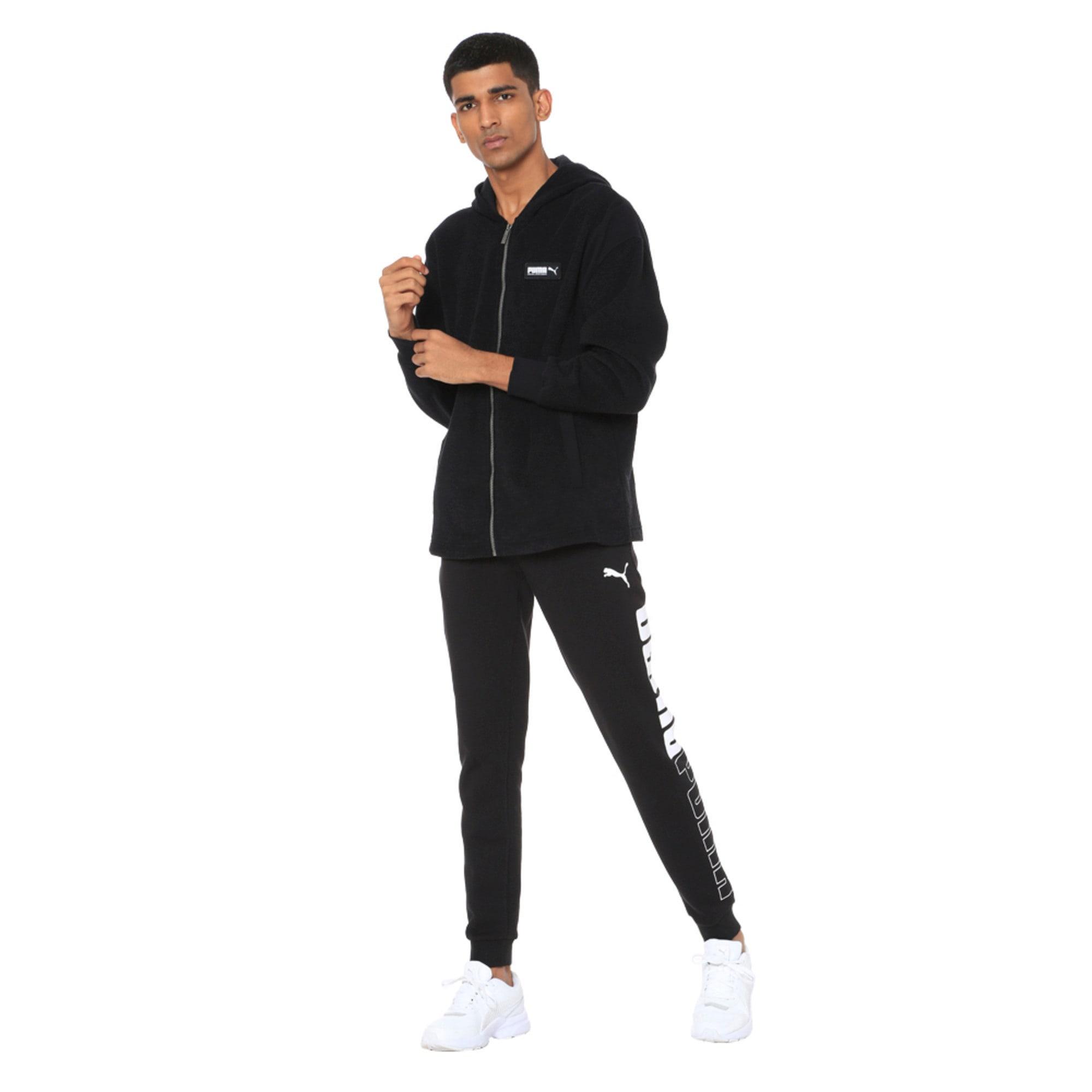 Thumbnail 1 of Fusion Fleece Hooded Men's Sweat Jacket, Puma Black, medium-IND