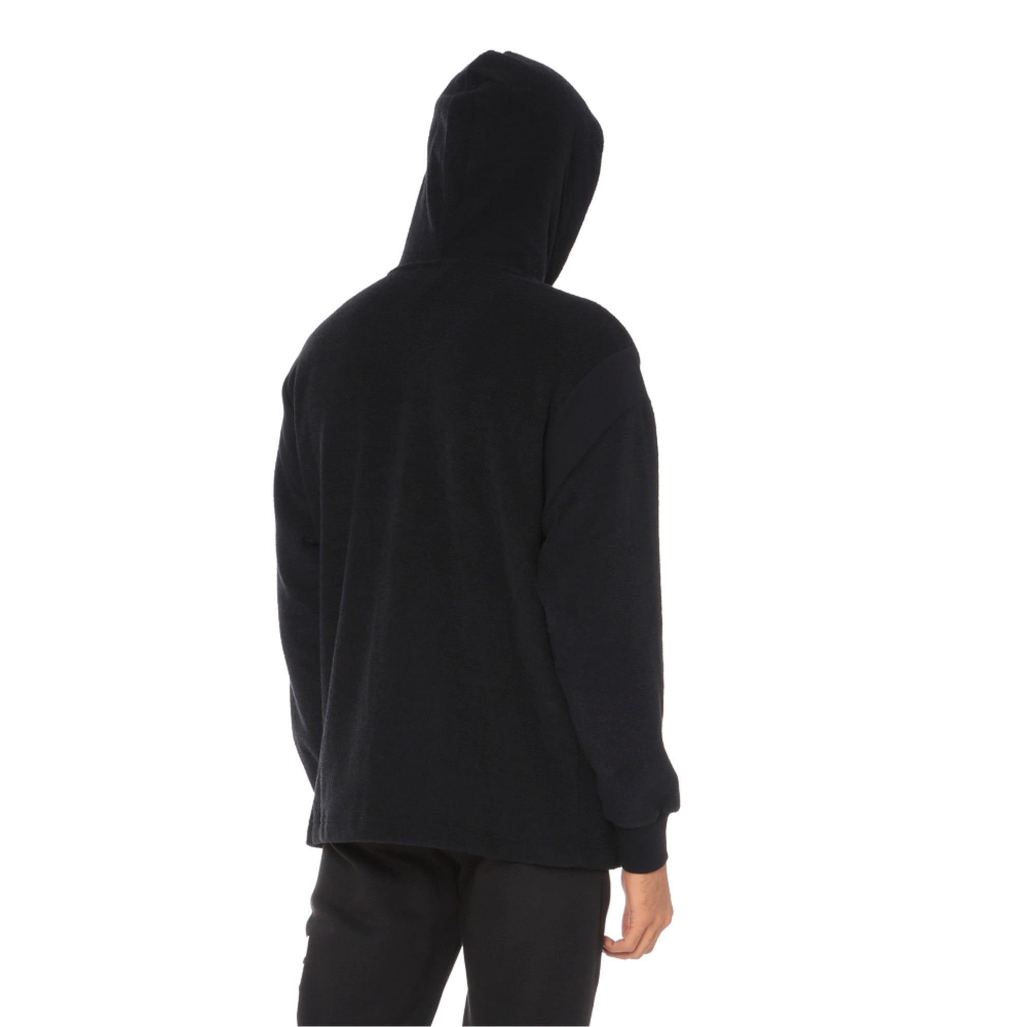 Thumbnail 2 of Fusion Fleece Hooded Men's Sweat Jacket, Puma Black, medium-IND