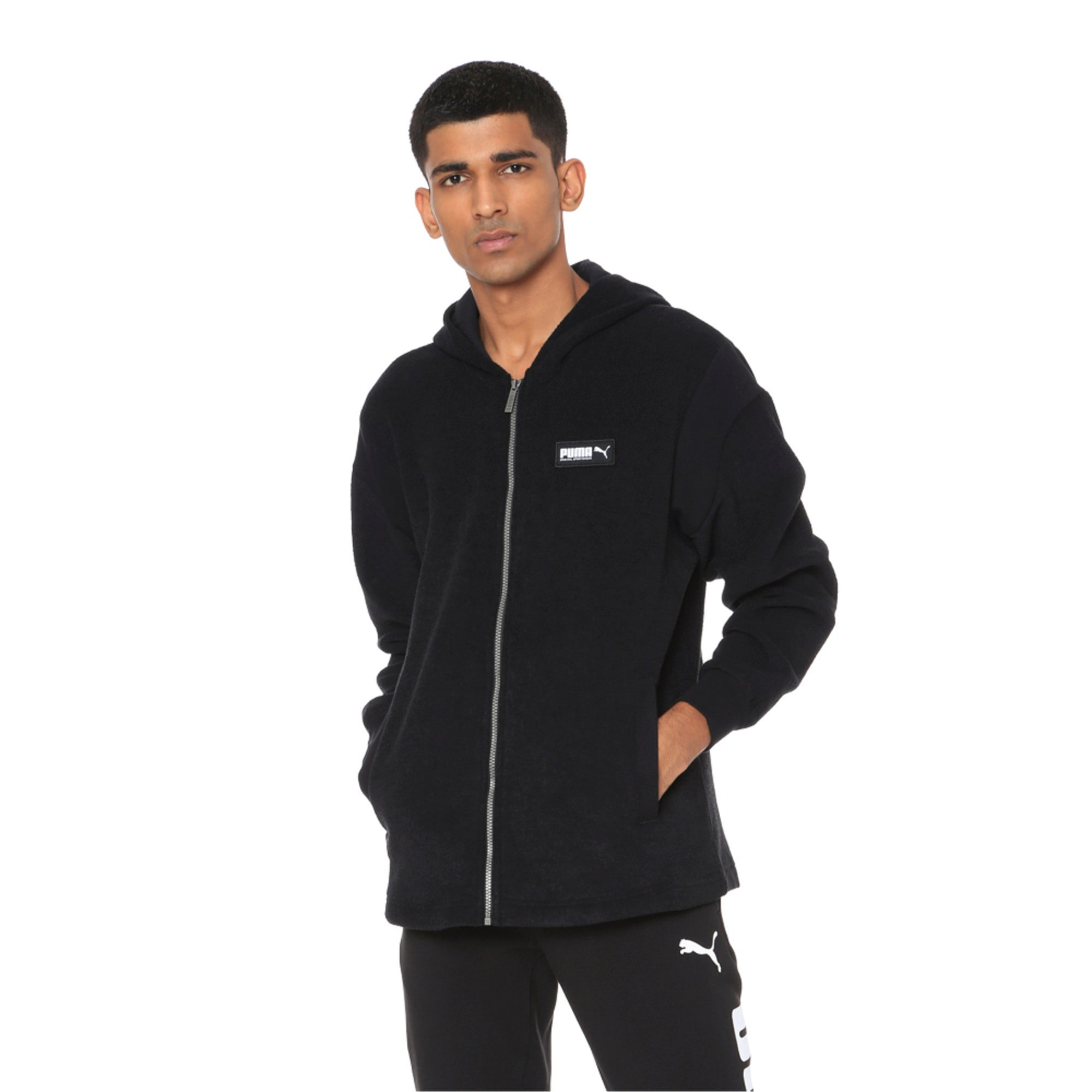 Thumbnail 3 of Fusion Fleece Hooded Men's Sweat Jacket, Puma Black, medium-IND