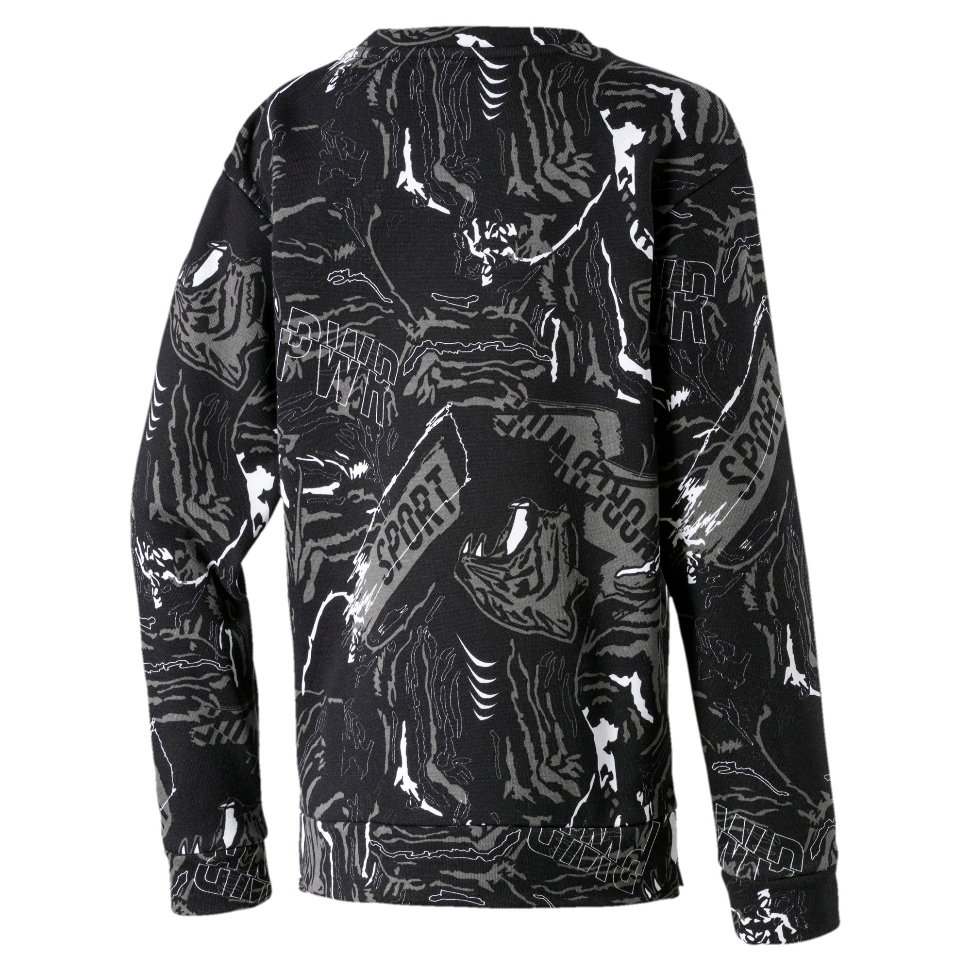 Thumbnail 2 of Alpha Graphic Long Sleeve Boys' Shirt, Puma Black, medium-IND