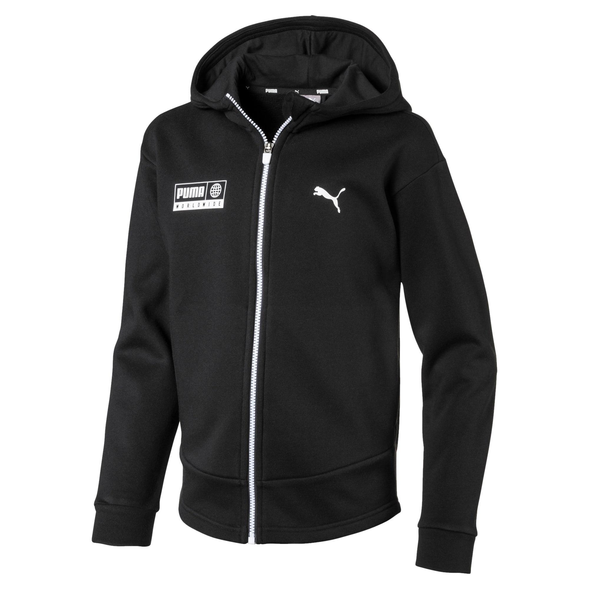 Thumbnail 1 of Men's Alpha Graphic Sweat Jacket, Puma Black, medium-IND