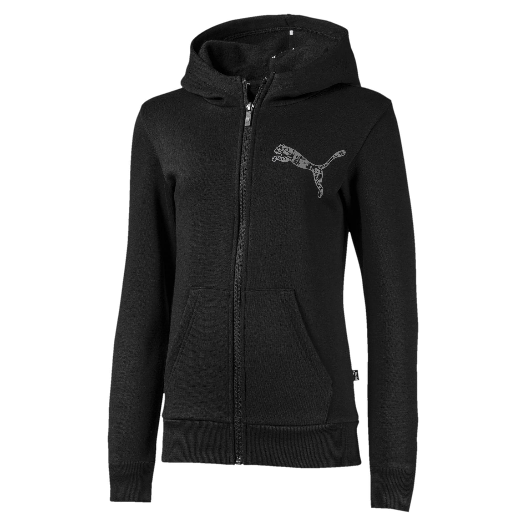 Thumbnail 1 of Full Zip Girls' Jacket, Puma Black, medium-IND