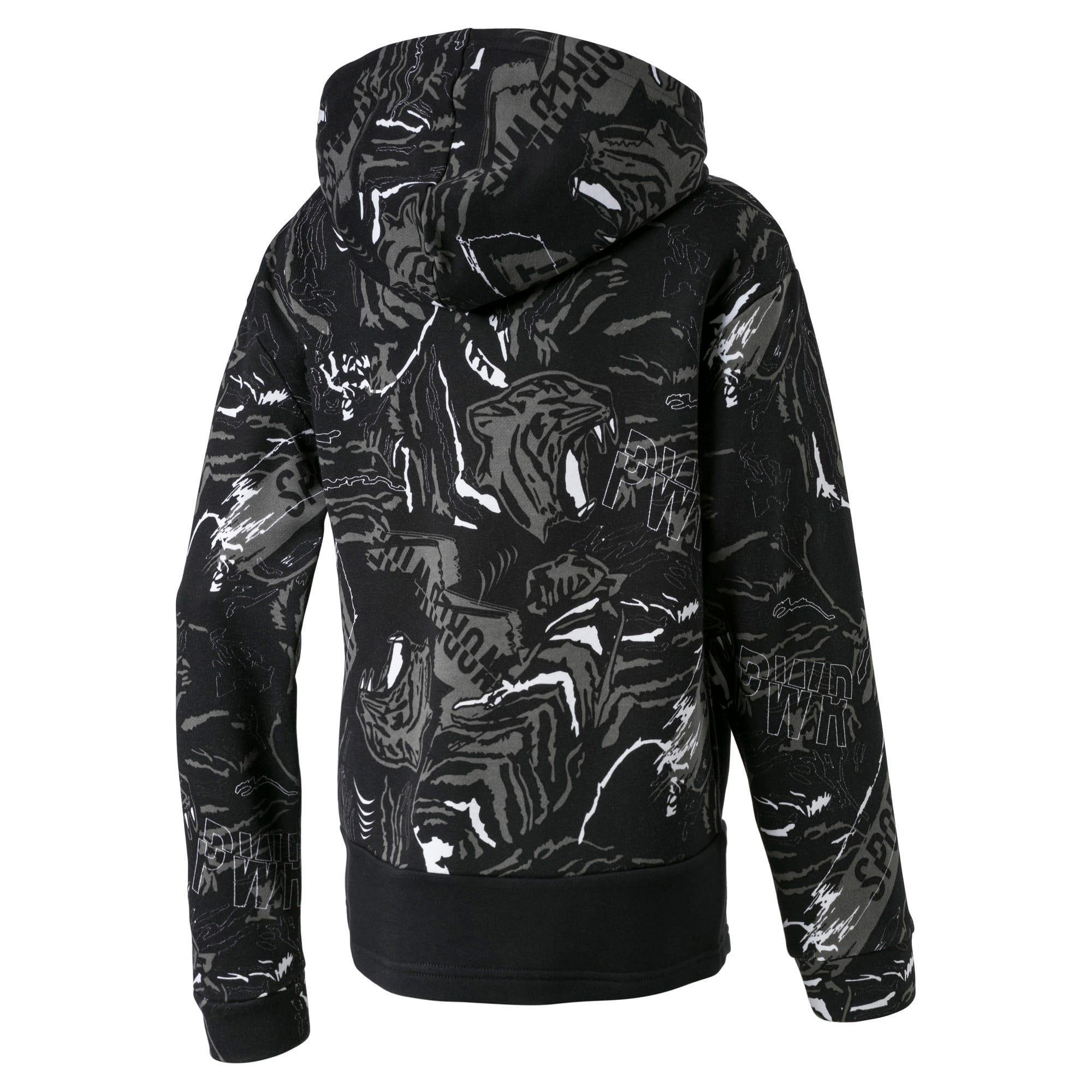 Thumbnail 2 of Alpha Hooded Boys' Sweat Jacket, Puma Black, medium-IND