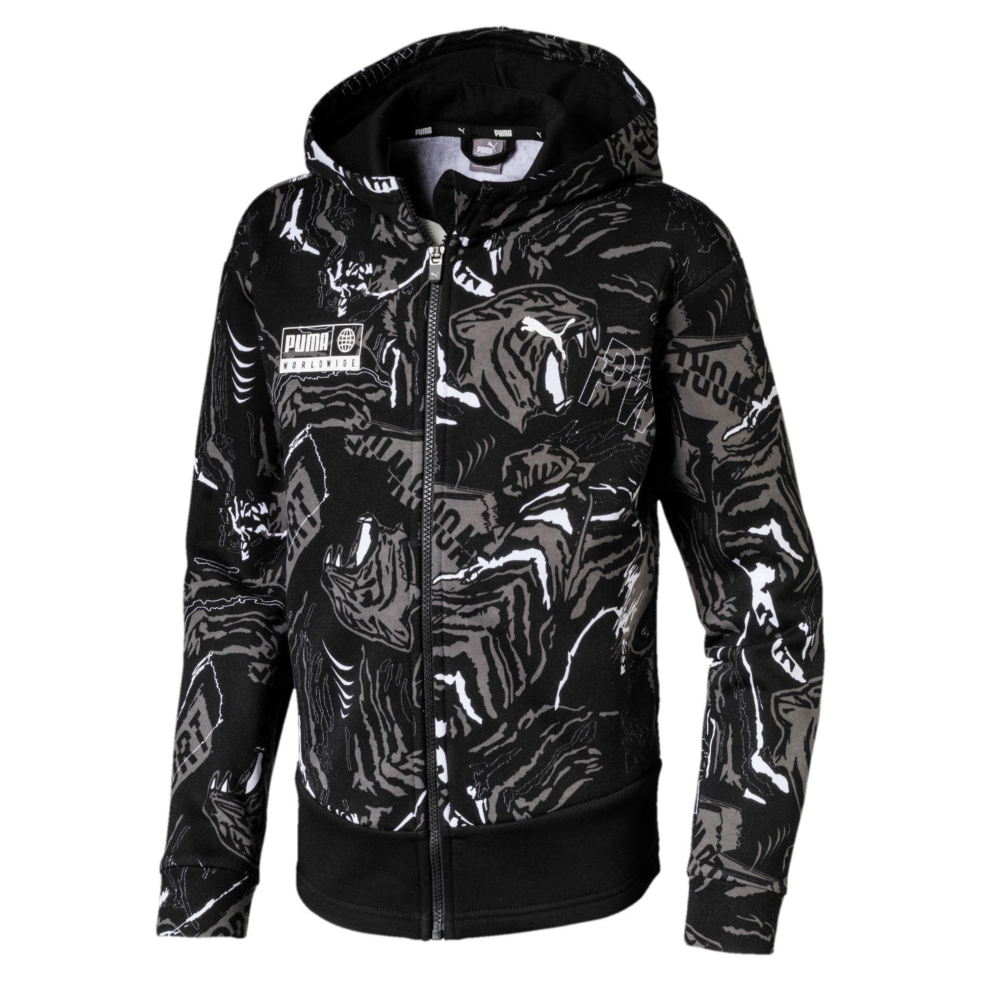 Thumbnail 1 of Alpha Hooded Boys' Sweat Jacket, Puma Black, medium-IND