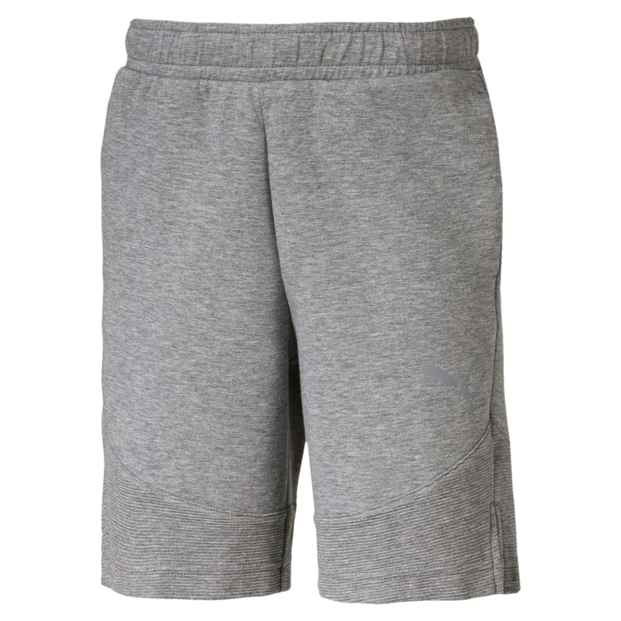 Thumbnail 1 of Evostripe Knitted Boys' Shorts, Medium Gray Heather, medium