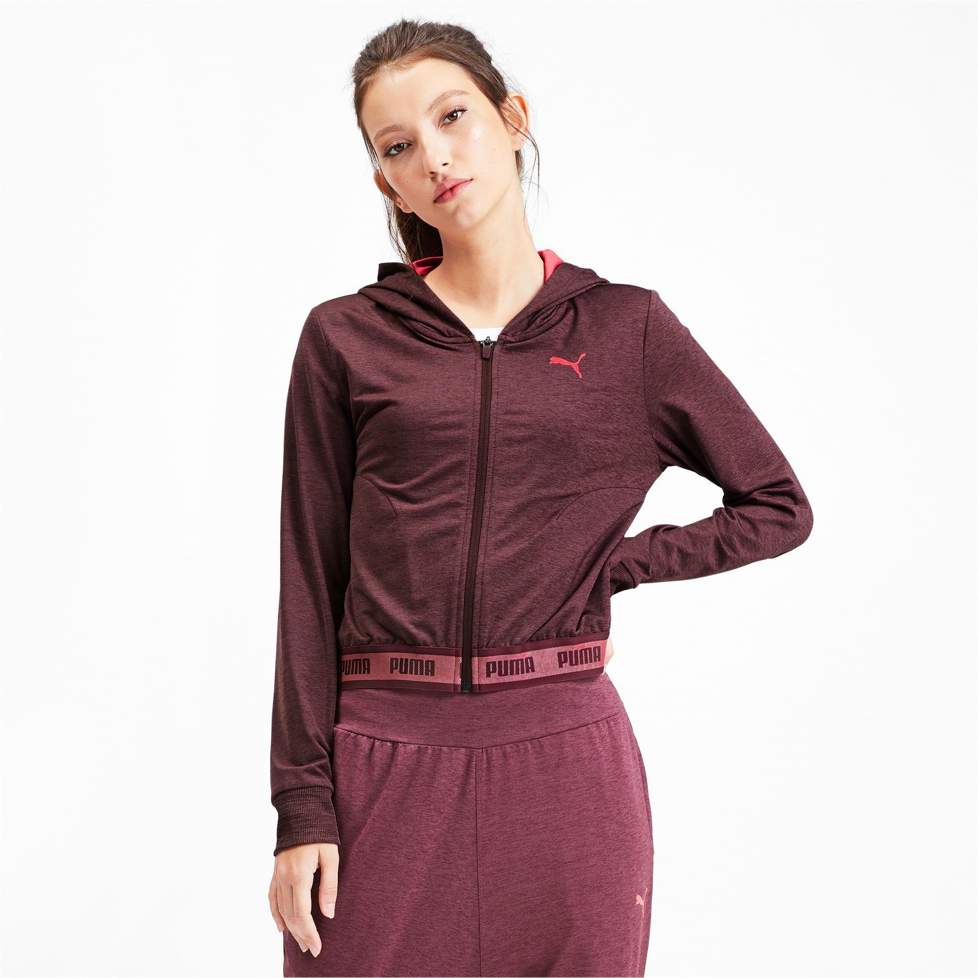Thumbnail 1 of SOFT SPORTS Hooded Women's Sweat Jacket, Vineyard Wine Heather, medium-IND