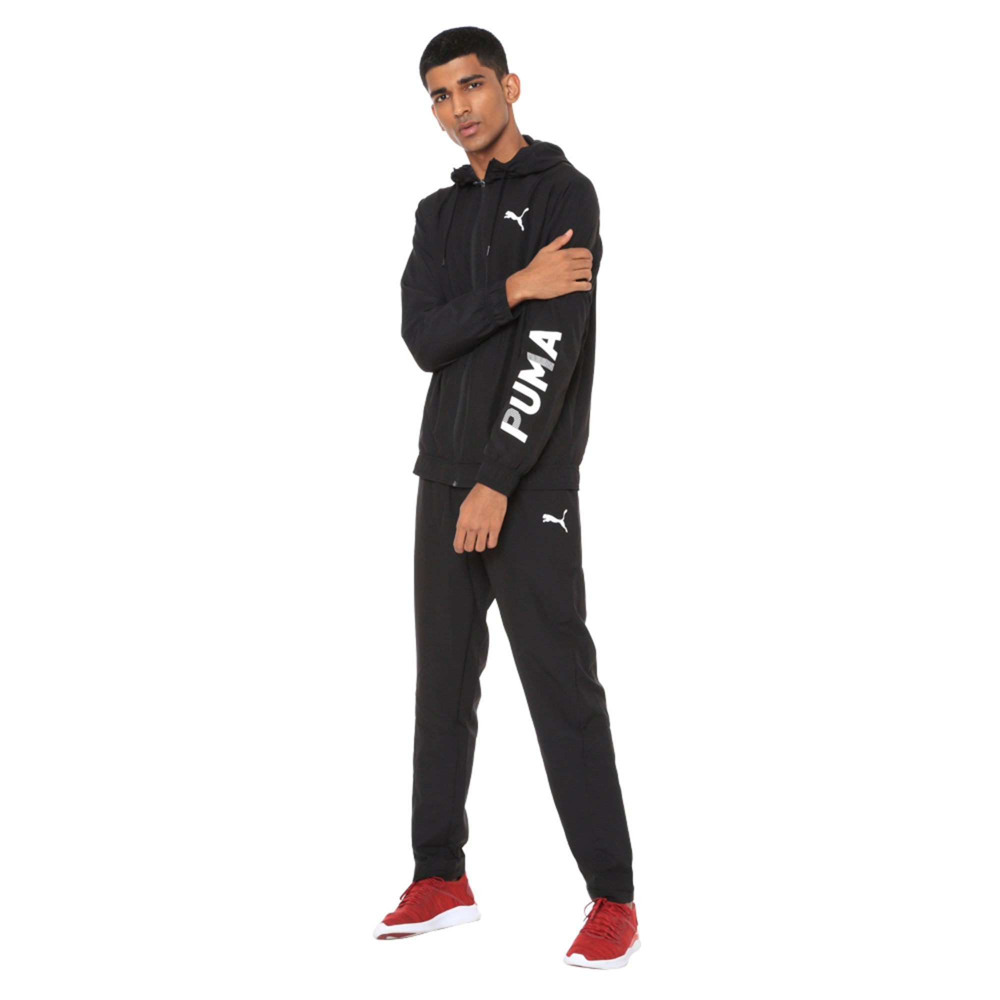 Thumbnail 2 of Modern Sport Hooded Men's Sweat Suit, Puma Black, medium-IND