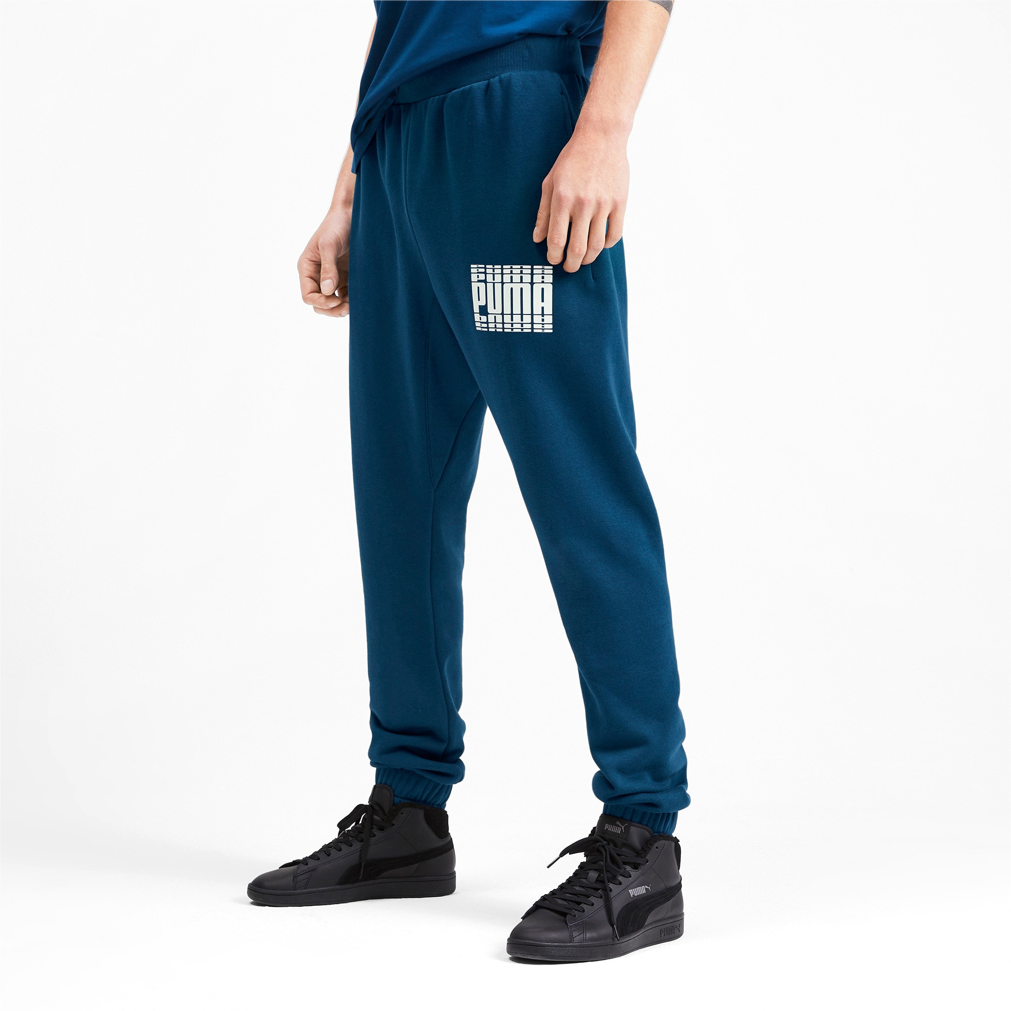Thumbnail 2 of Rebel Bold Full Length Men's Sweatpants, Gibraltar Sea, medium-IND