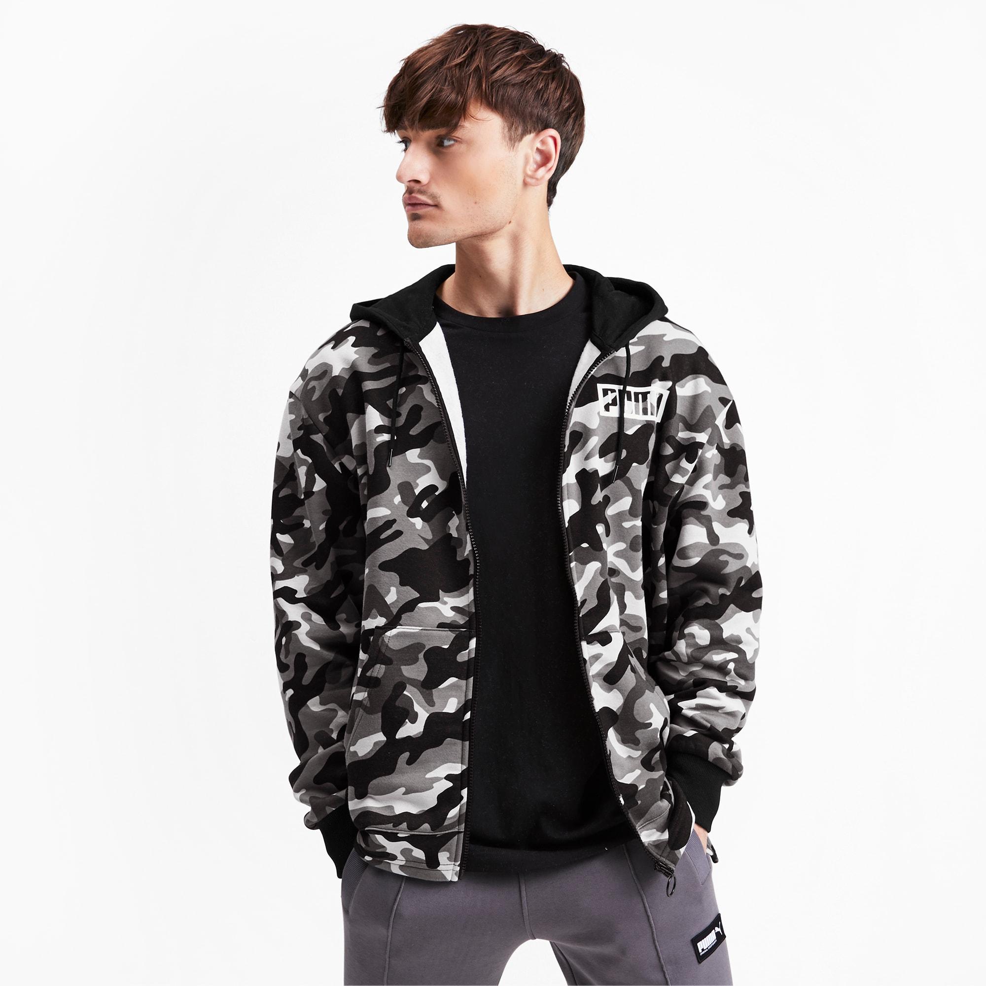 X-Future Men Coat Hooded Zip Front Fleece Lined Outwear Camo Print Sweatshirt