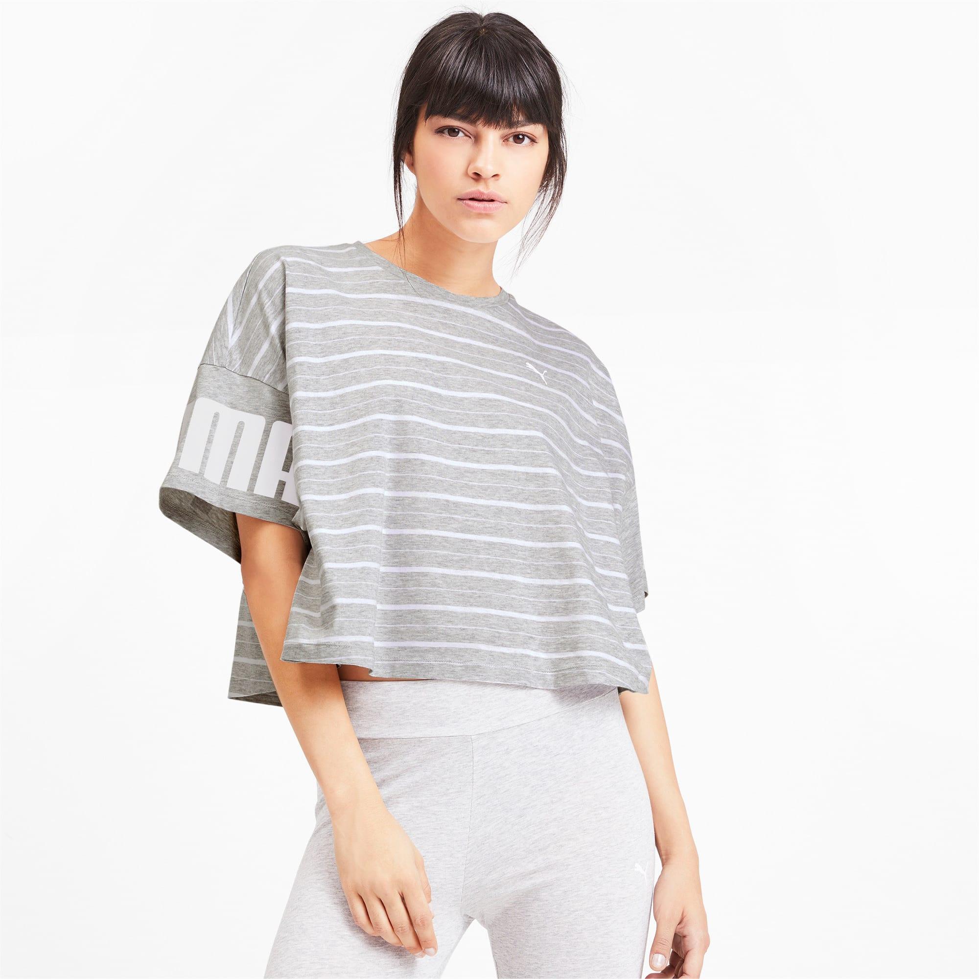 Thumbnail 2 of Rebel Striped Short Sleeve Women's Tee, Light Gray Heather, medium-IND
