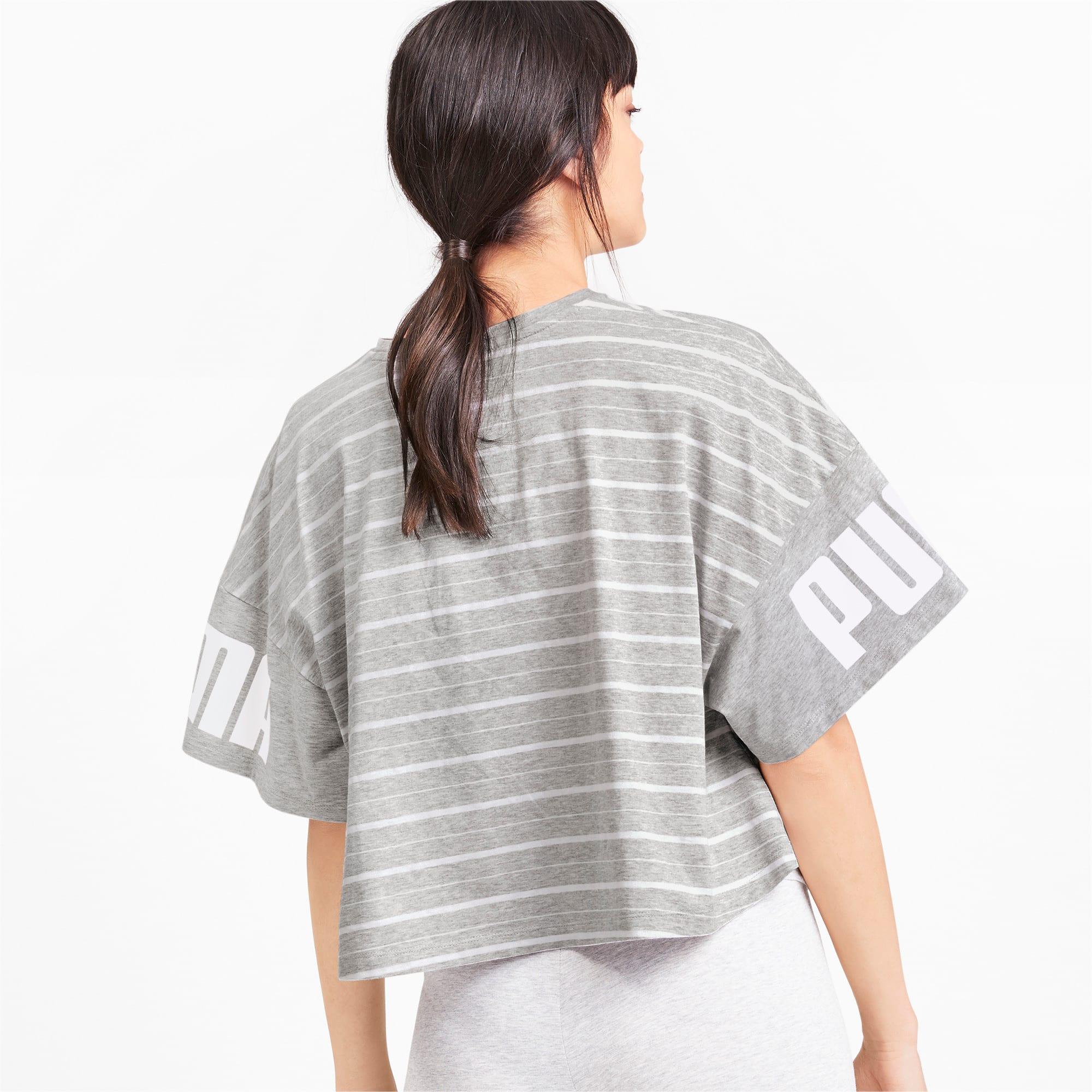 Thumbnail 3 of Rebel Striped Short Sleeve Women's Tee, Light Gray Heather, medium-IND