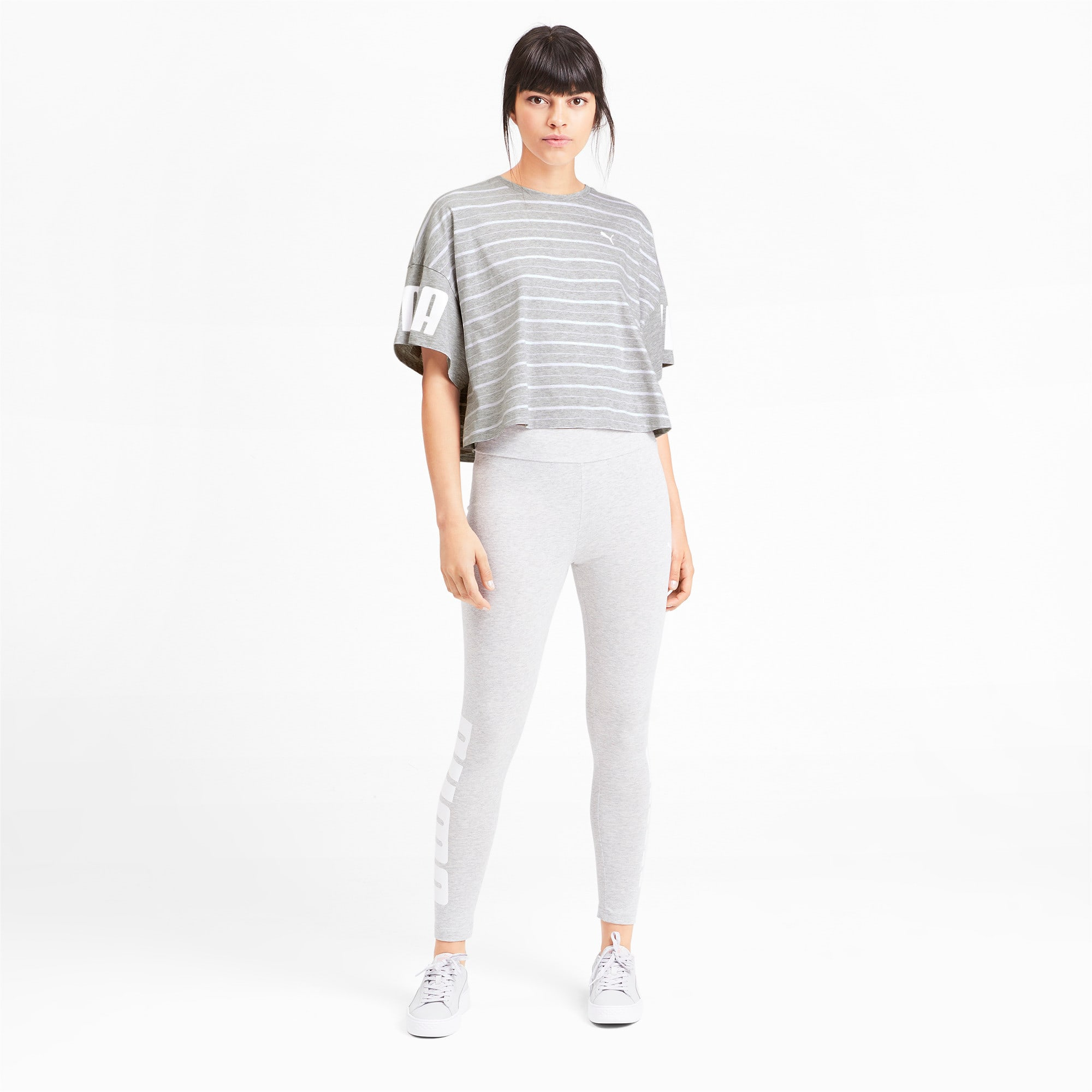 Thumbnail 4 of Rebel Striped Short Sleeve Women's Tee, Light Gray Heather, medium-IND