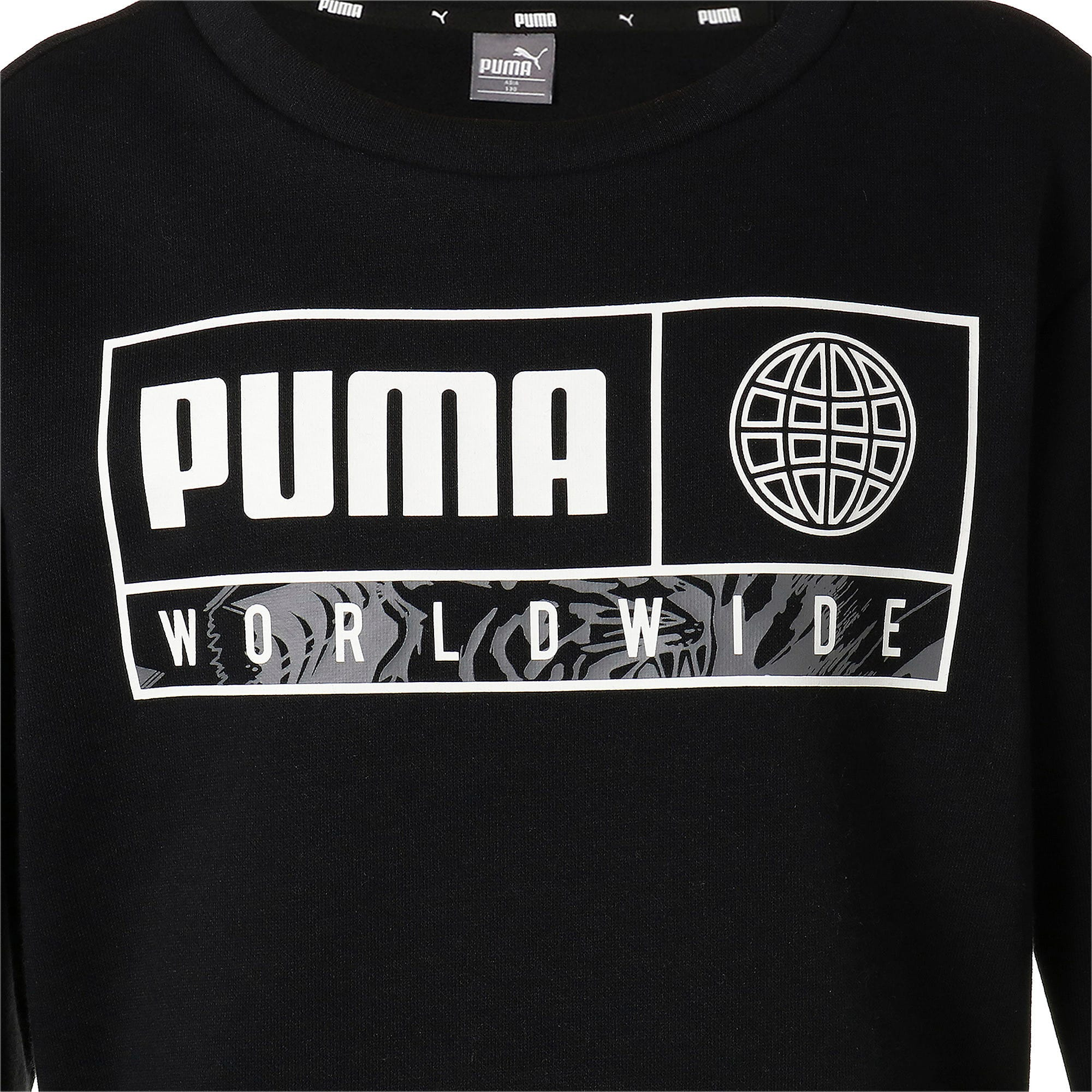 Thumbnail 4 of キッズ アルファ グラフィック クルー スウェット FL, Puma Black, medium-JPN
