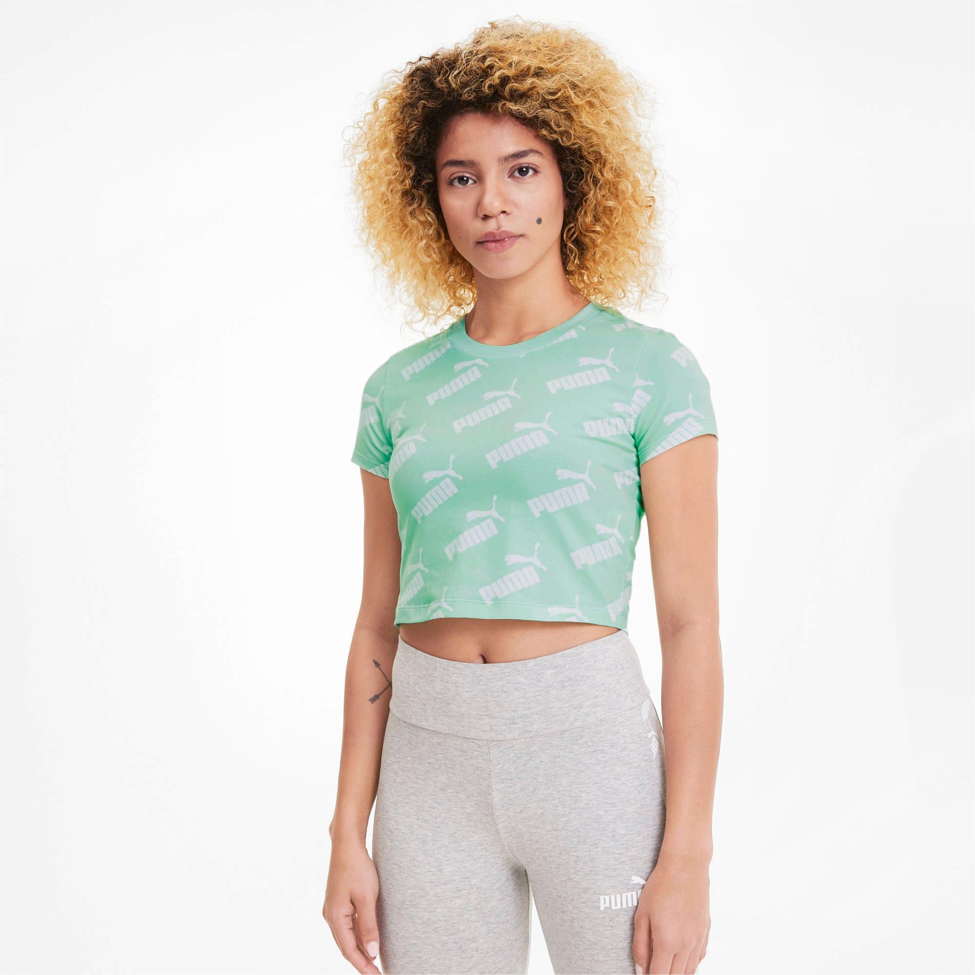 Amplified AOP Fitted Damen T Shirt | Mist Green | PUMA