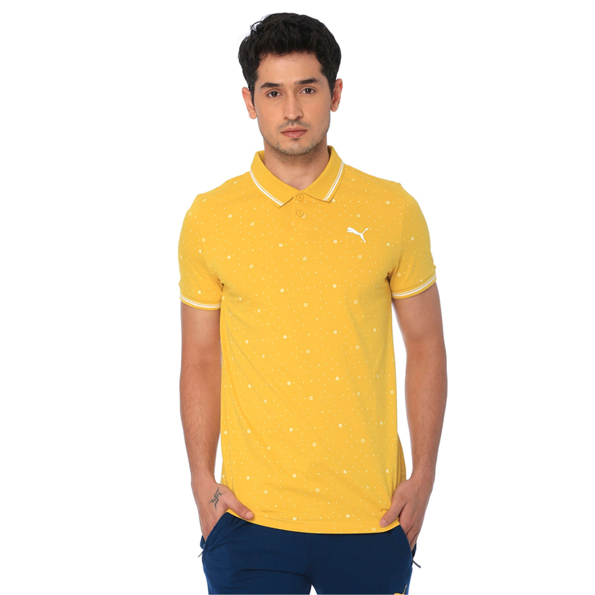 Thumbnail 4 of one8 AOP Men's Printed Polo, Sulphur, medium-IND