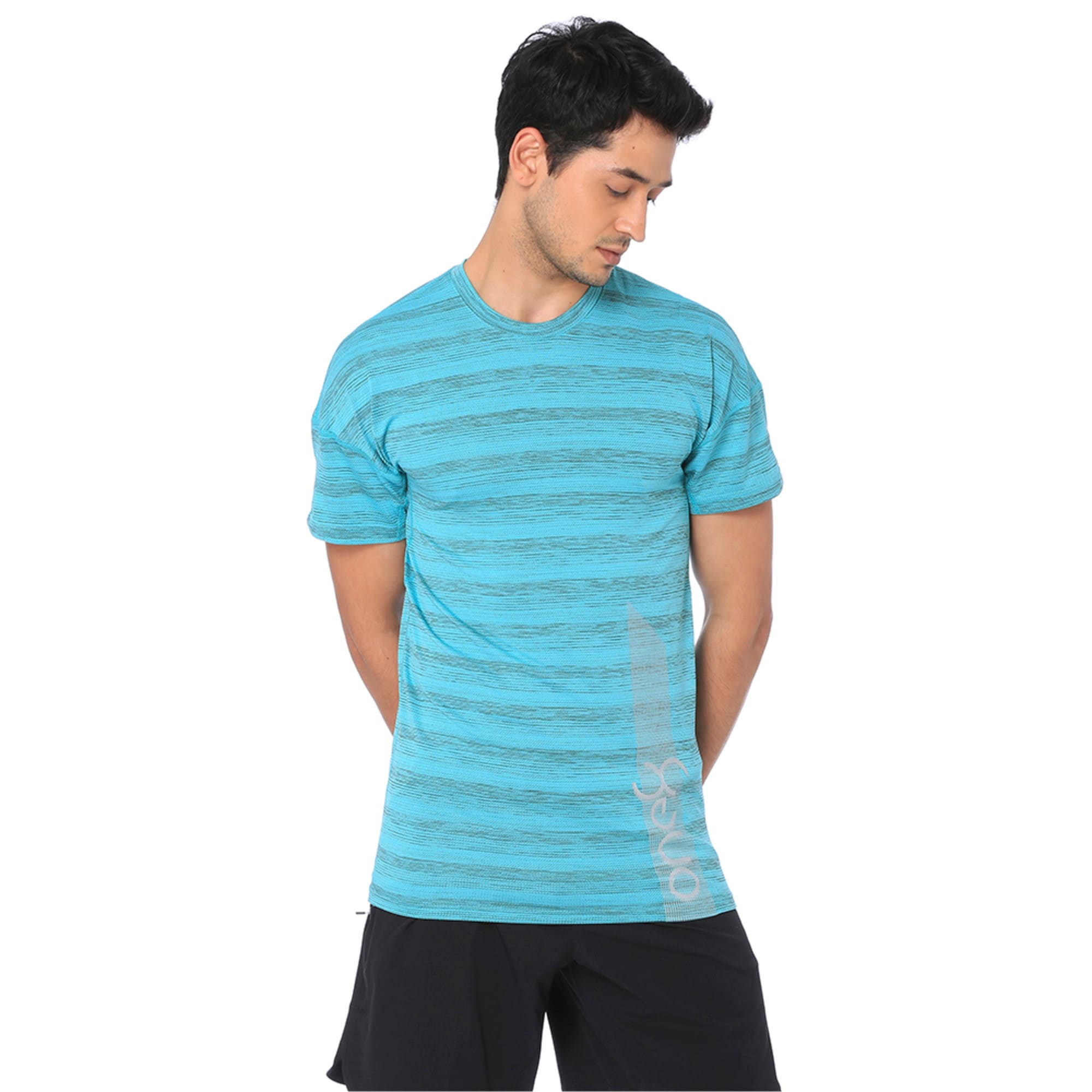Thumbnail 4 of one8 Active Men's Printed Tee, Blue Turquoise Heather, medium-IND