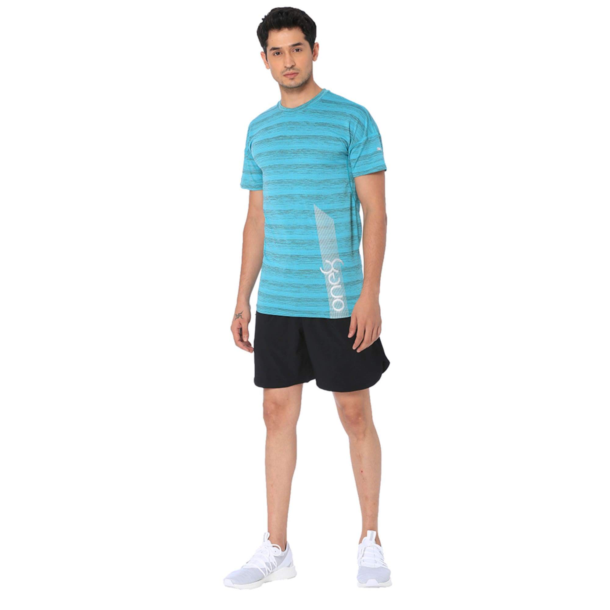 Thumbnail 1 of one8 Active Men's Printed Tee, Blue Turquoise Heather, medium-IND