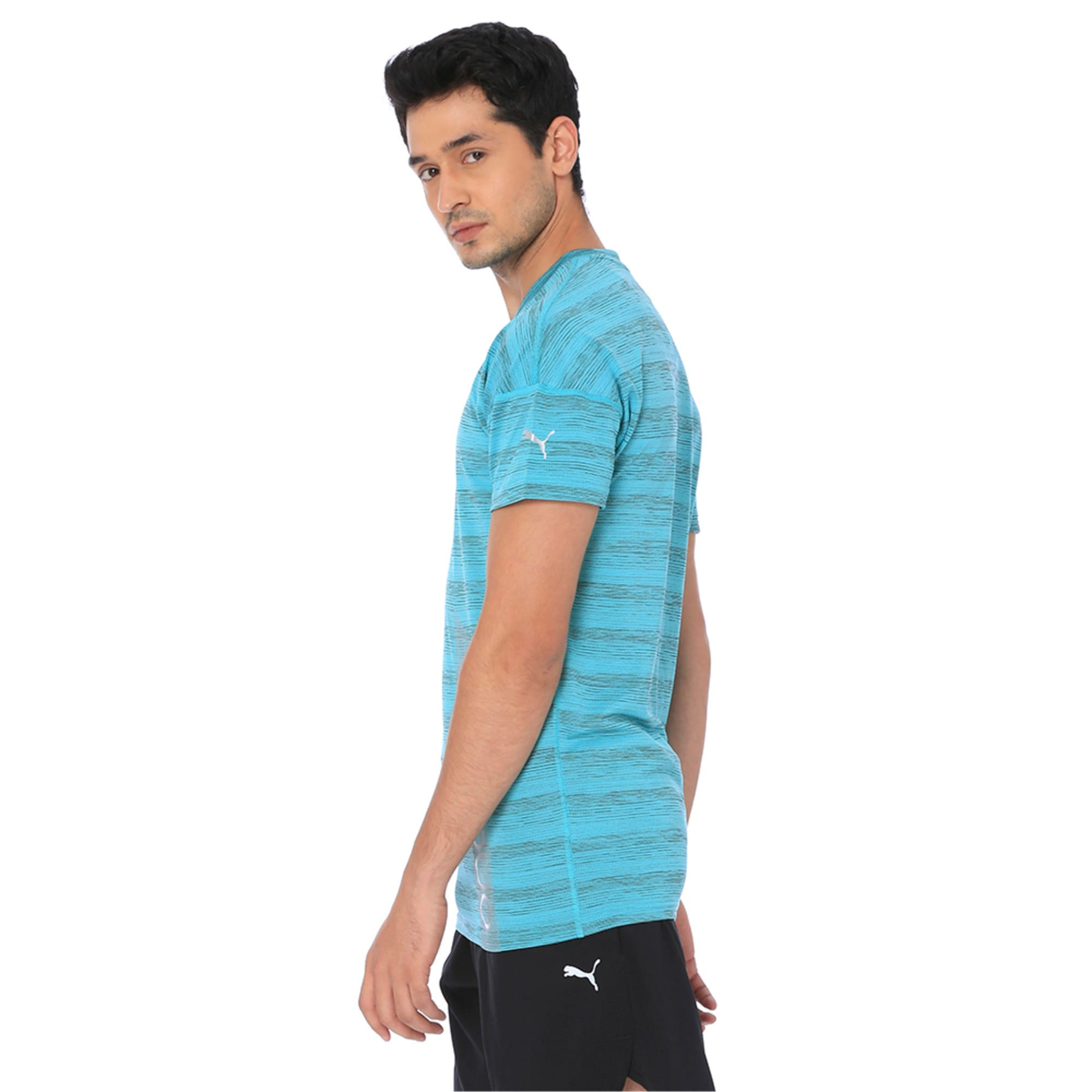 Thumbnail 3 of one8 Active Men's Printed Tee, Blue Turquoise Heather, medium-IND