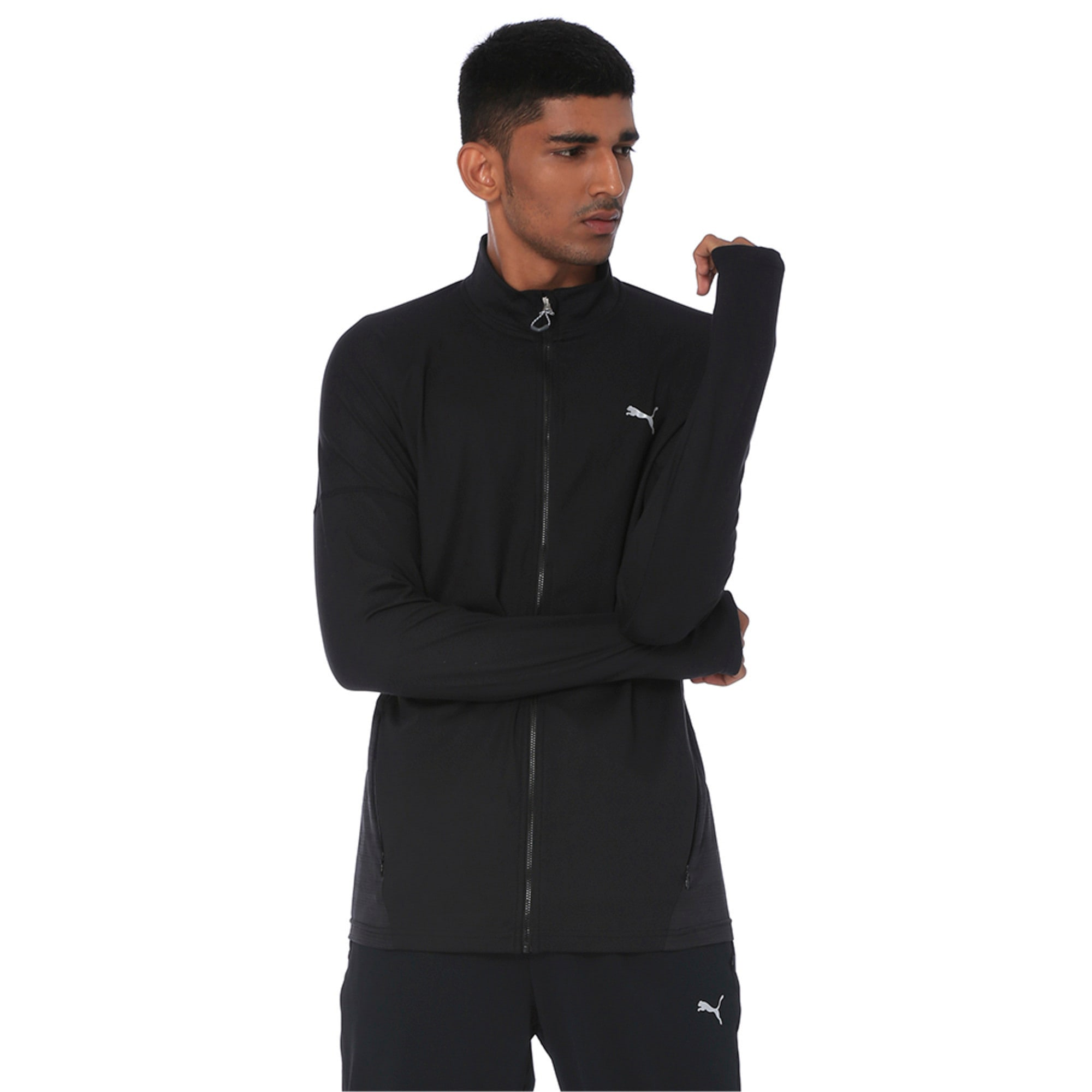 Thumbnail 4 of one8 VK Active Men's Full Zip Sweat Jacket, Puma Black, medium-IND