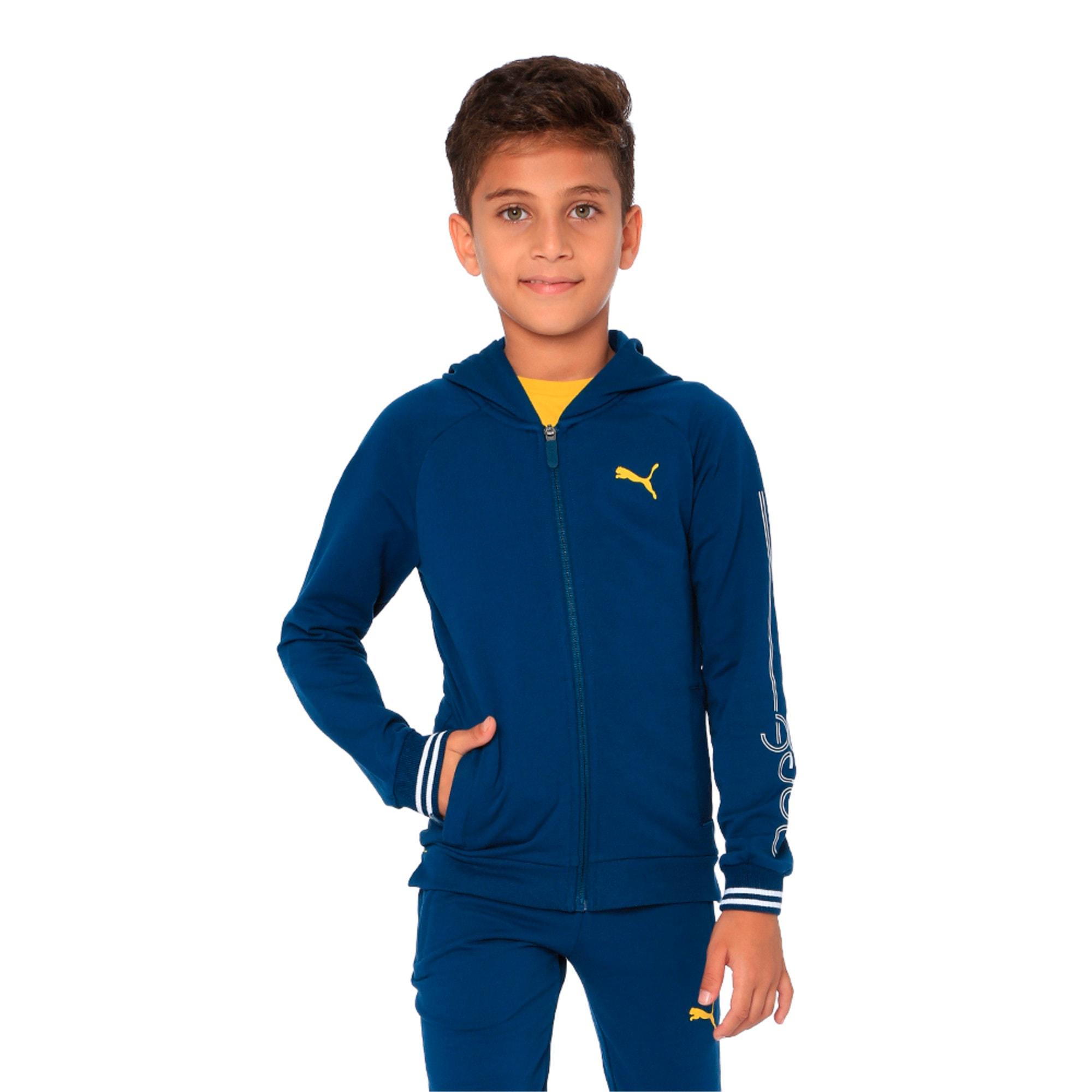 Thumbnail 4 of one8 VK Kids' Hooded Track Jacket, Gibraltar Sea, medium-IND