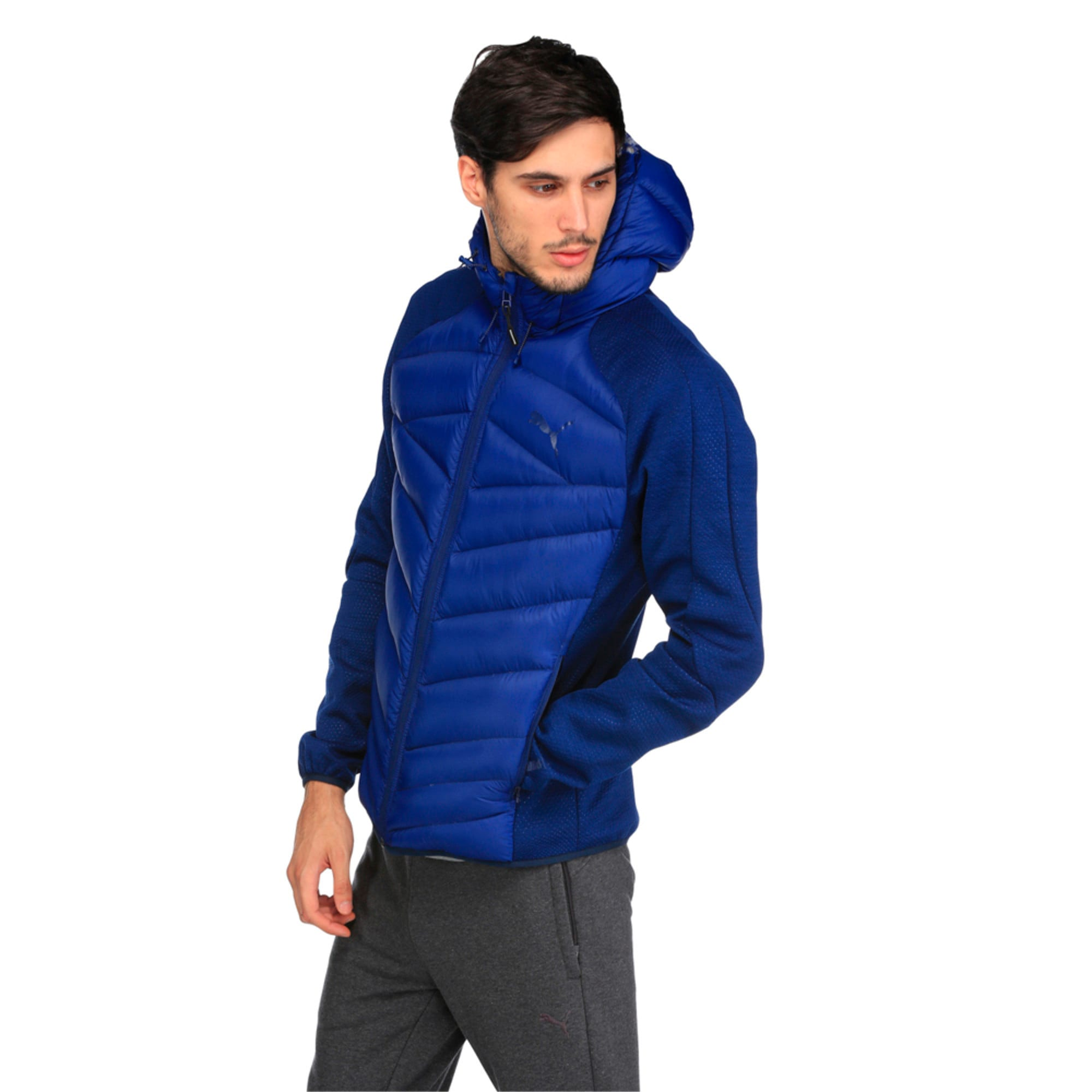 Thumbnail 2 of Double Knit Hybrid 600 Down Men's Jacket, Blue Heather-Blue Depths, medium-IND