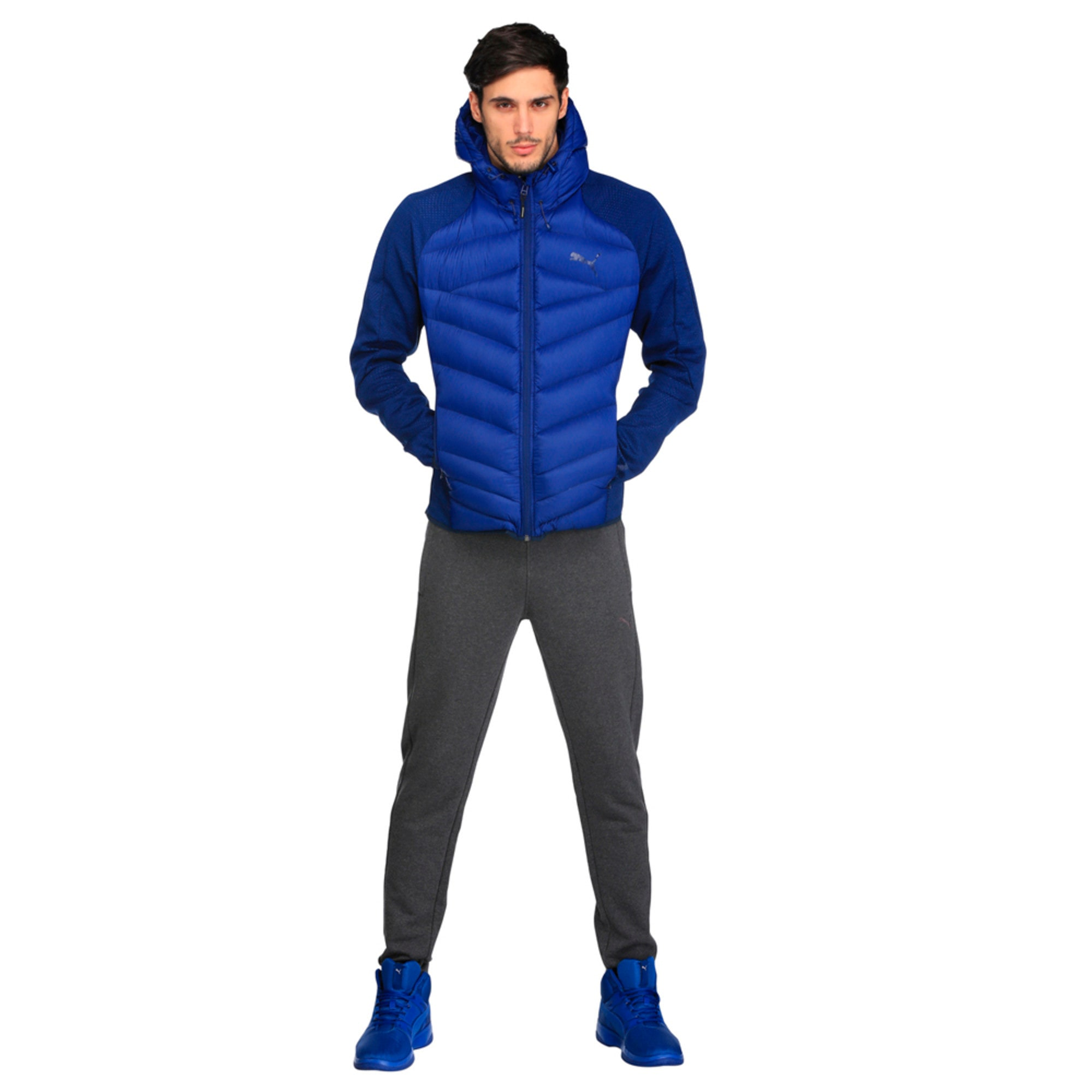 Thumbnail 4 of Double Knit Hybrid 600 Down Men's Jacket, Blue Heather-Blue Depths, medium-IND