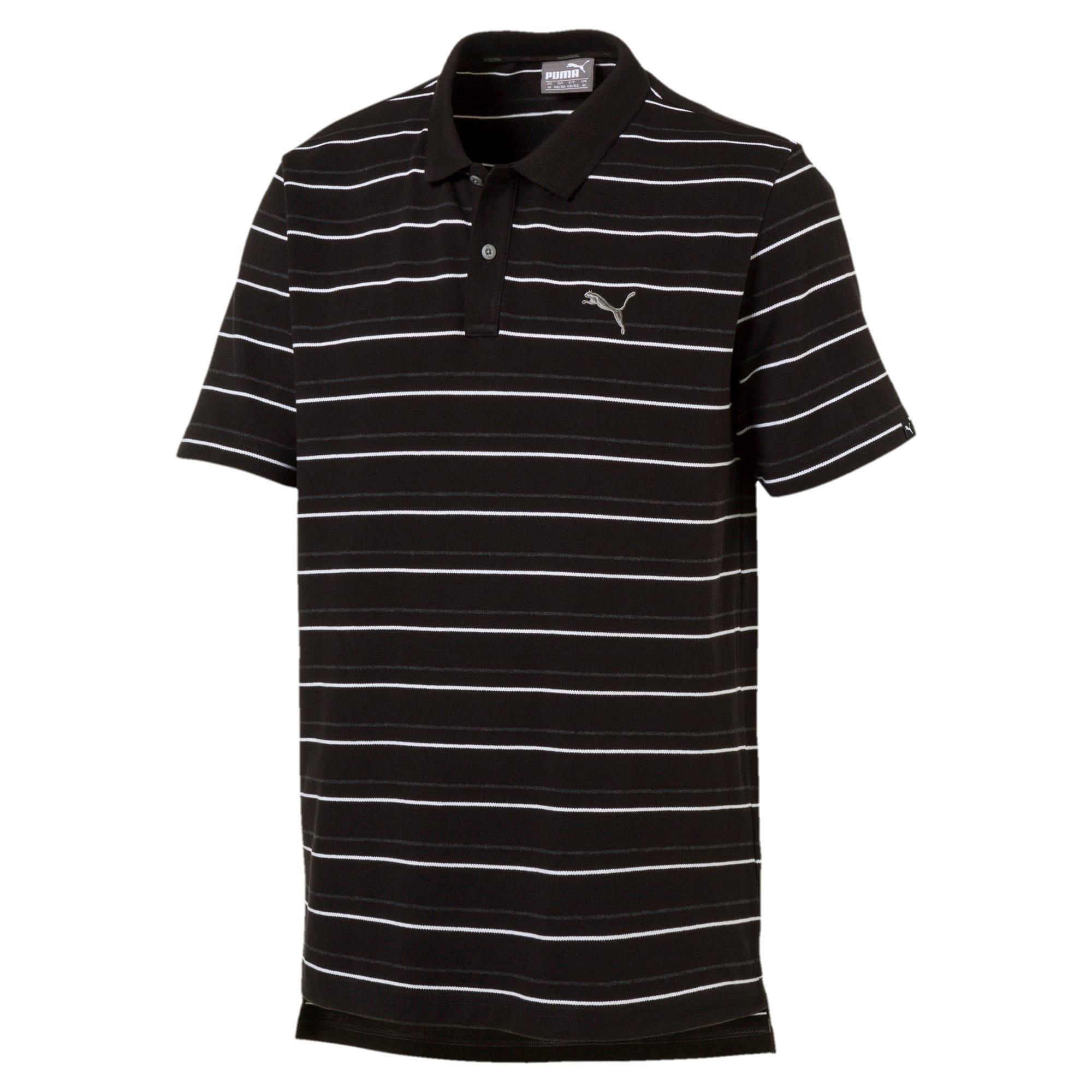 Thumbnail 4 of Sports Stripe Pique Polo, Cotton Black, medium-IND