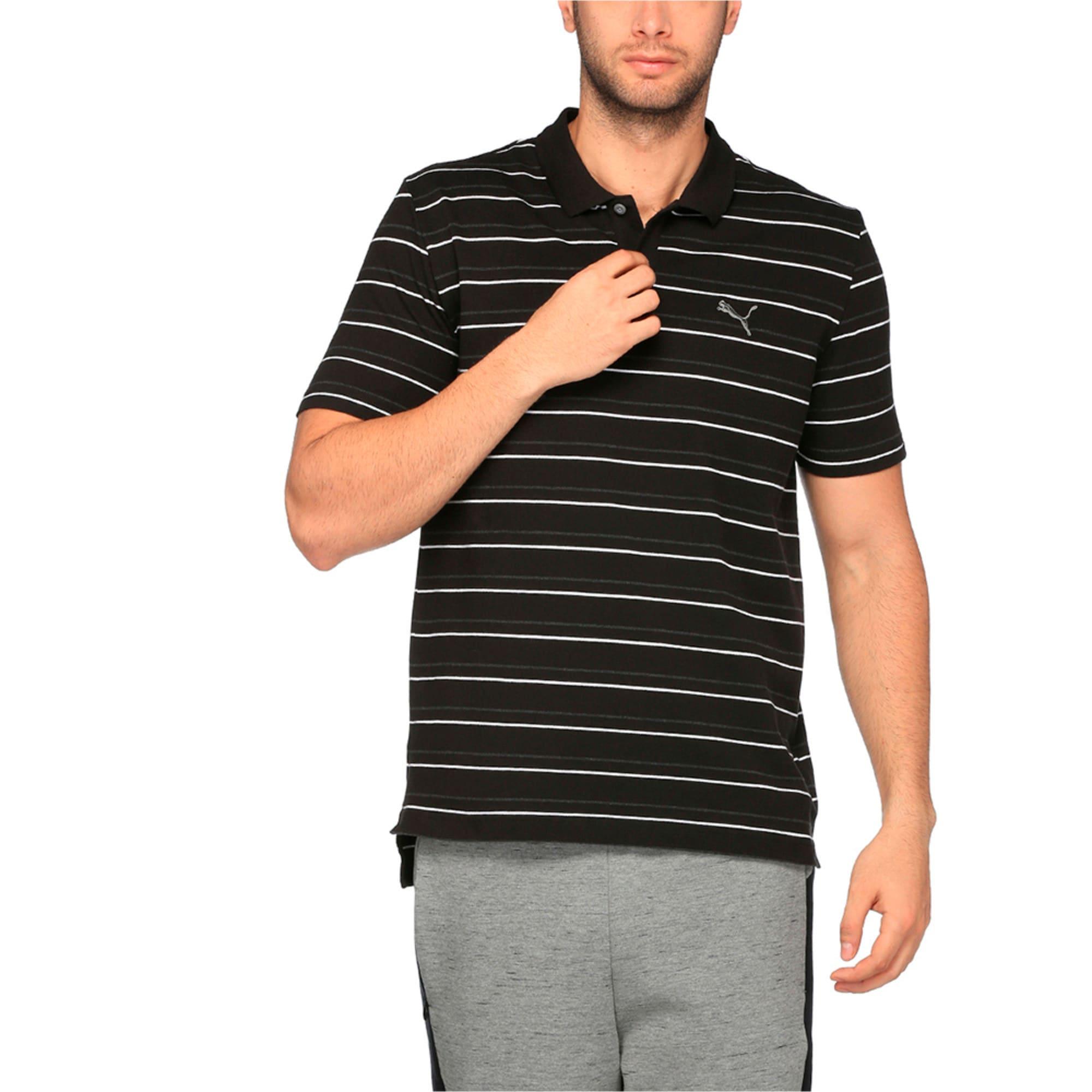 Thumbnail 1 of Sports Stripe Pique Polo, Cotton Black, medium-IND