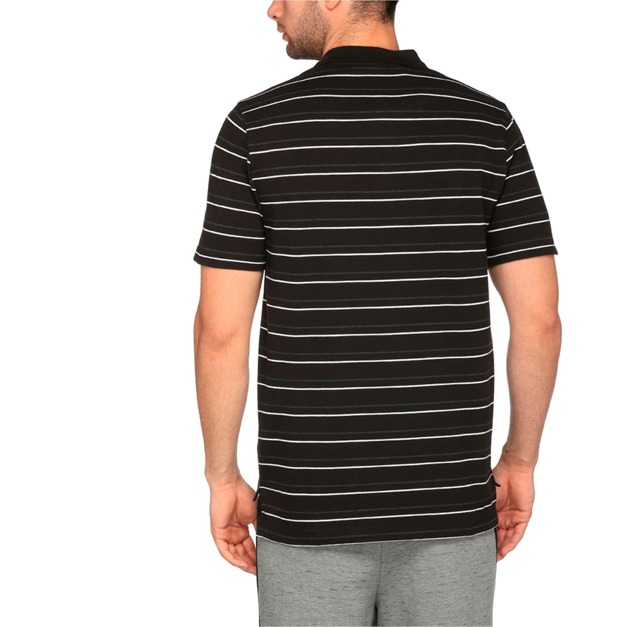 Thumbnail 2 of Sports Stripe Pique Polo, Cotton Black, medium-IND