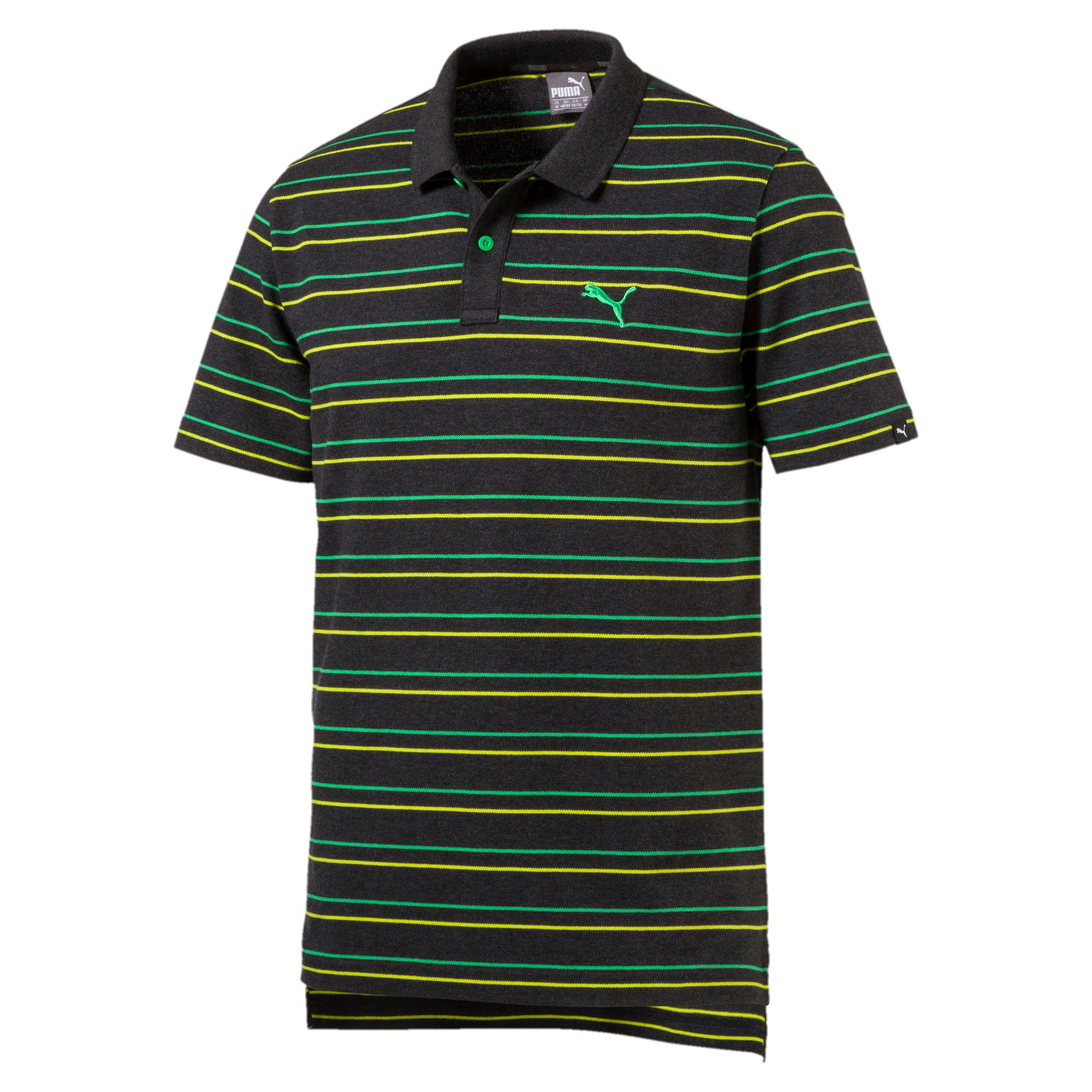 Thumbnail 4 of Sports Stripe Pique Polo, Dark Gray Heather, medium-IND