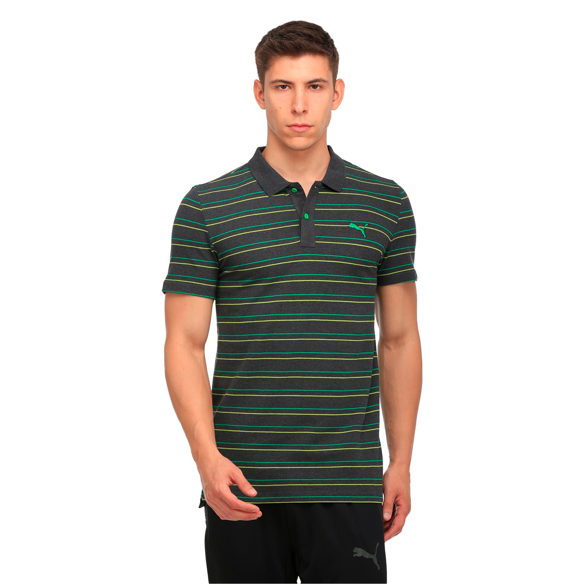 Thumbnail 1 of Sports Stripe Pique Polo, Dark Gray Heather, medium-IND