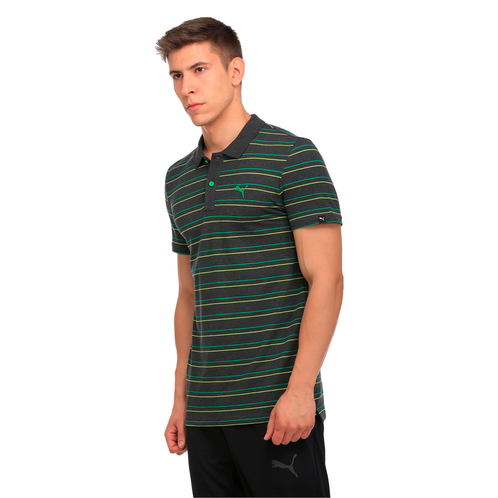Thumbnail 2 of Sports Stripe Pique Polo, Dark Gray Heather, medium-IND