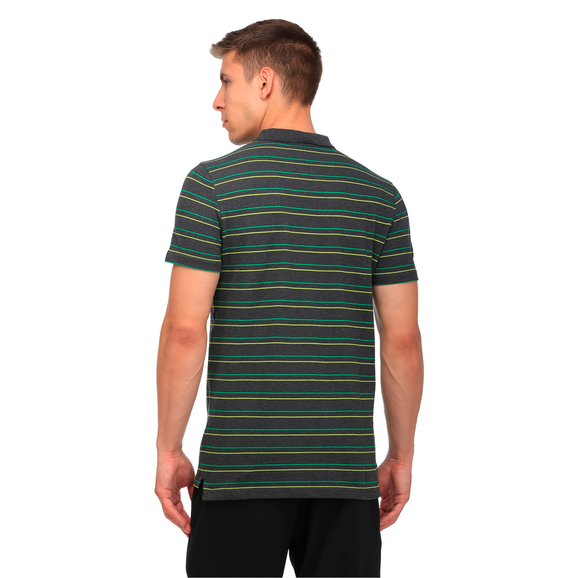 Thumbnail 3 of Sports Stripe Pique Polo, Dark Gray Heather, medium-IND